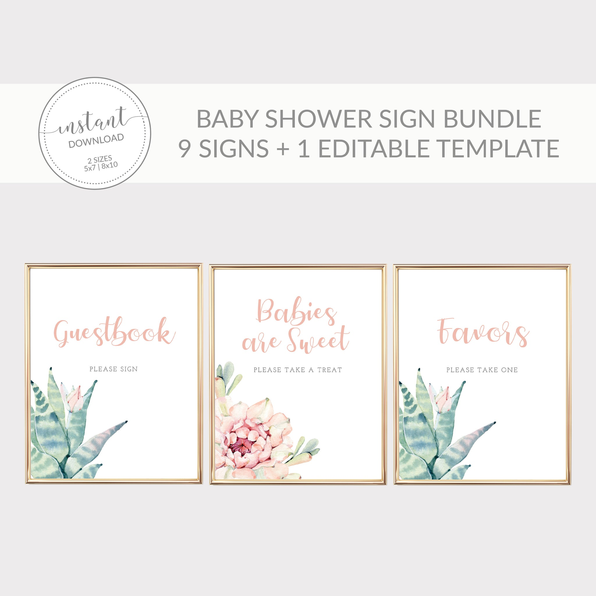 Succulent Baby Shower Sign Bundle, Cactus Baby Shower Table Signs, Printable Sip and See Decorations, DIGITAL DOWNLOAD - CS100
