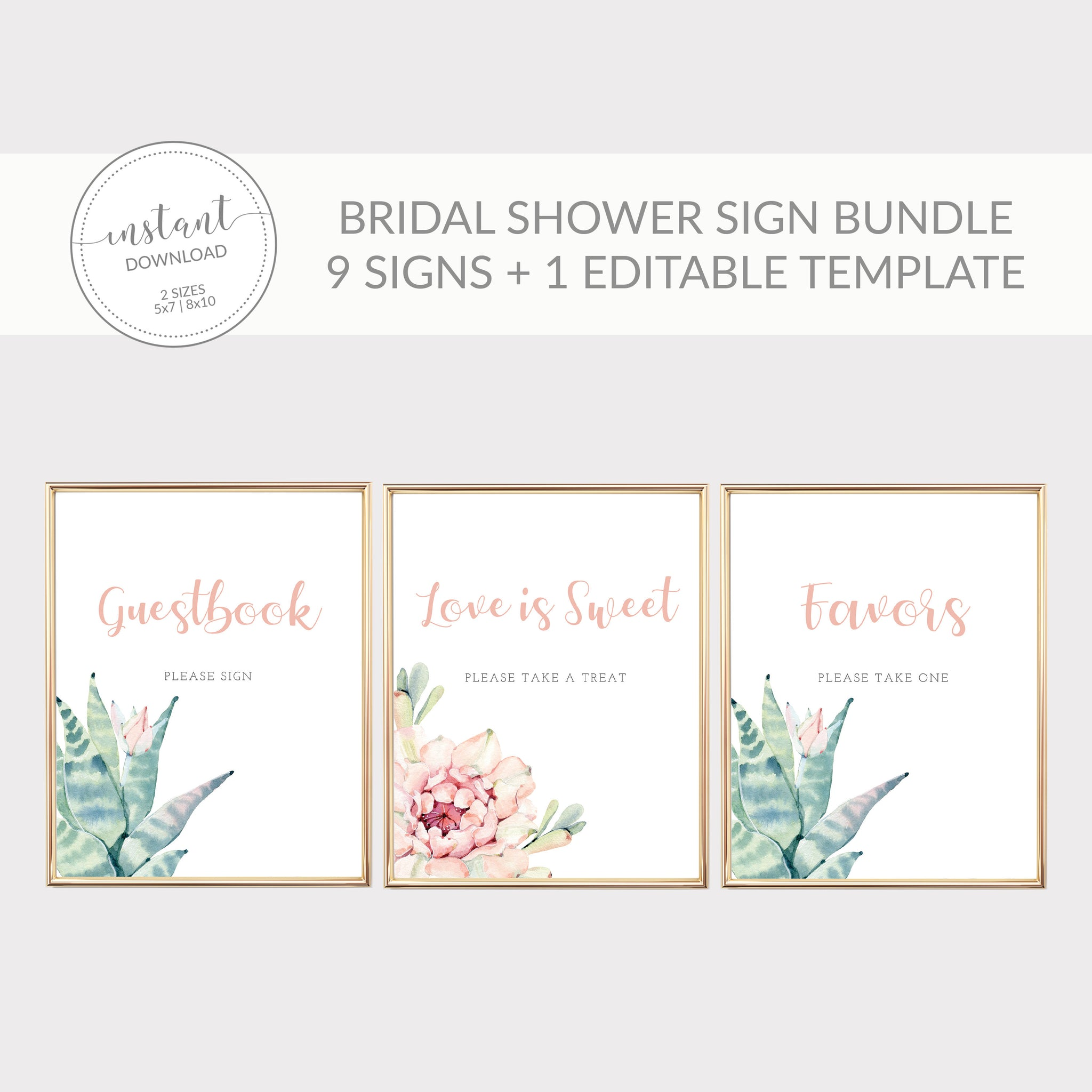 Succulent Bridal Shower Sign Bundle, Cactus Bridal Shower Table Signs Printable, Succulent Bridal Shower Decorations, DIGITAL DOWNLOAD CS100 - @PlumPolkaDot