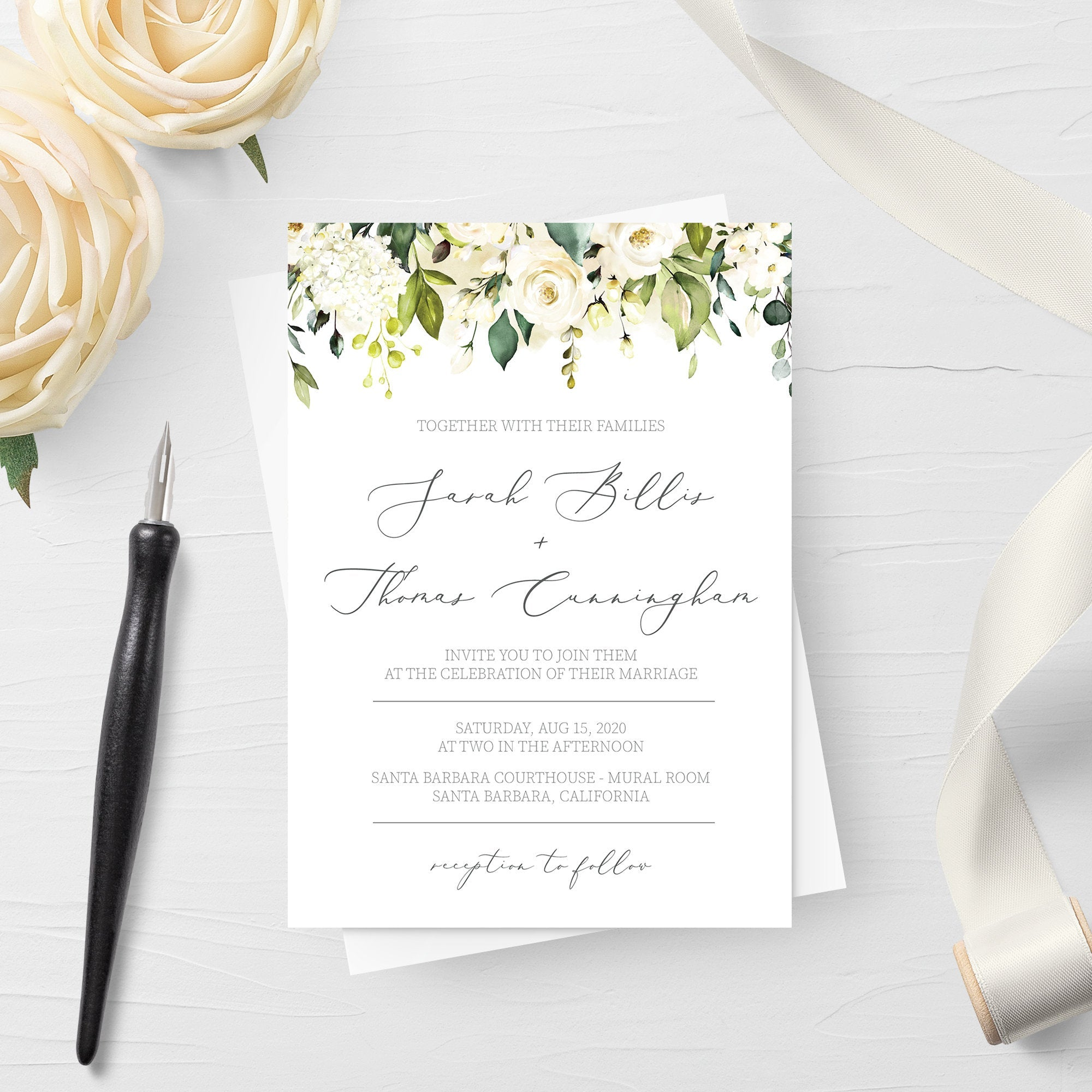 White Floral Greenery Wedding Invitation Template, Printable Wedding Invitation Set, Editable Wedding Invitation, DIGITAL DOWNLOAD - WRG100 - @PlumPolkaDot