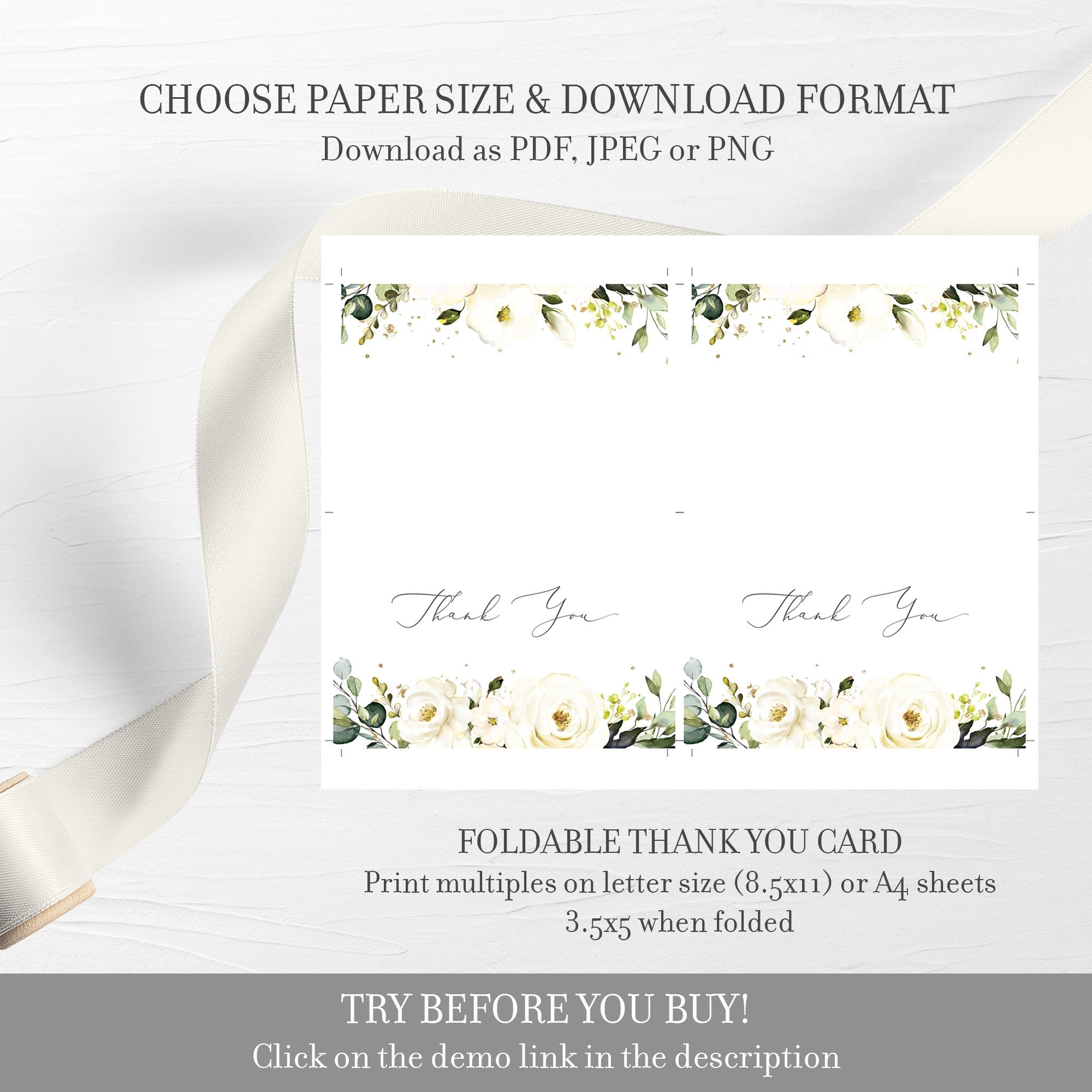 White Floral Greenery Wedding Invitation Template, Printable Wedding Invitation Set, Editable Wedding Invitation, DIGITAL DOWNLOAD - WRG100