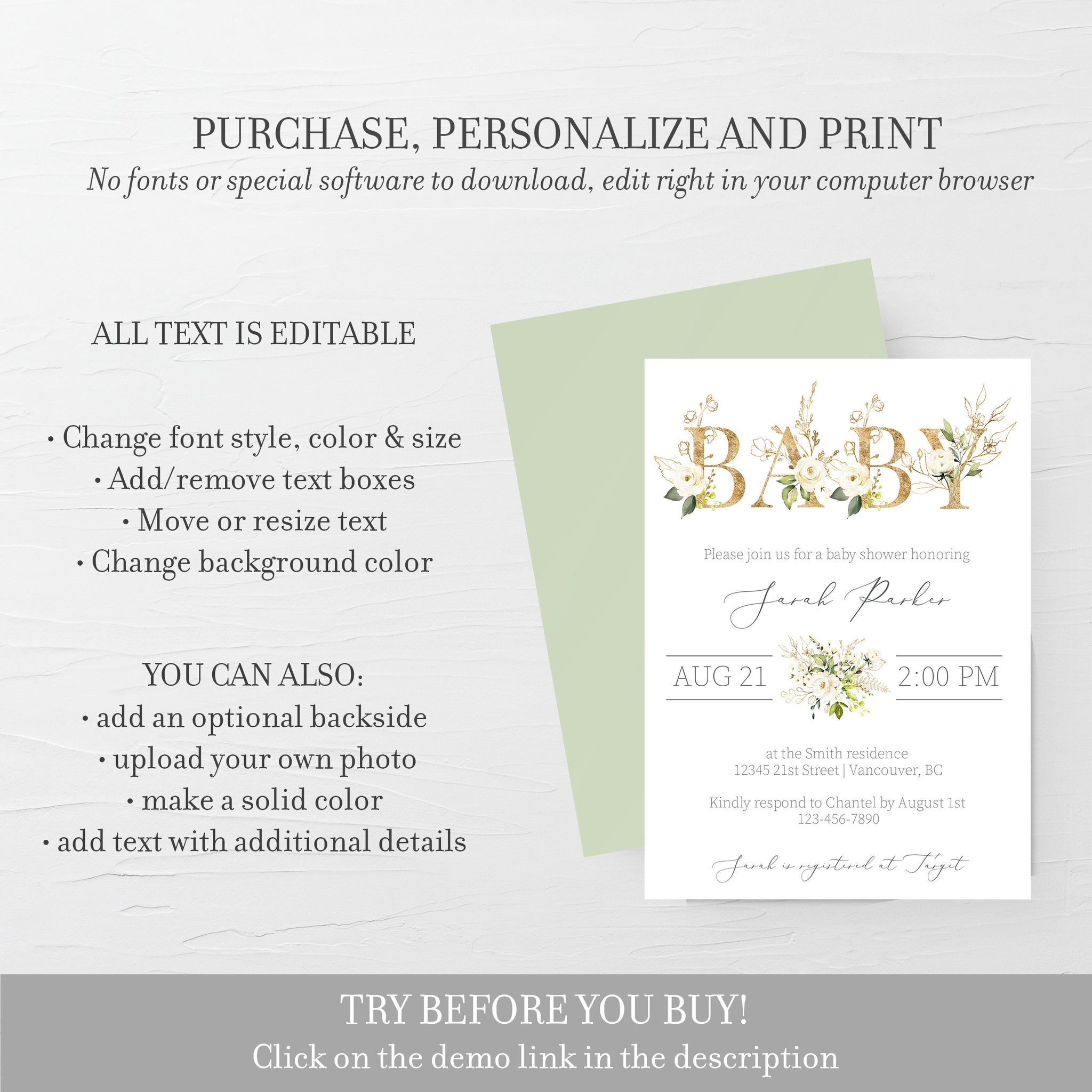 White Floral Greenery Baby Shower Invitation Template, Greenery Gold Baby Shower Invitation Printable, Editable DIGITAL DOWNLOAD - WRG100 - @PlumPolkaDot