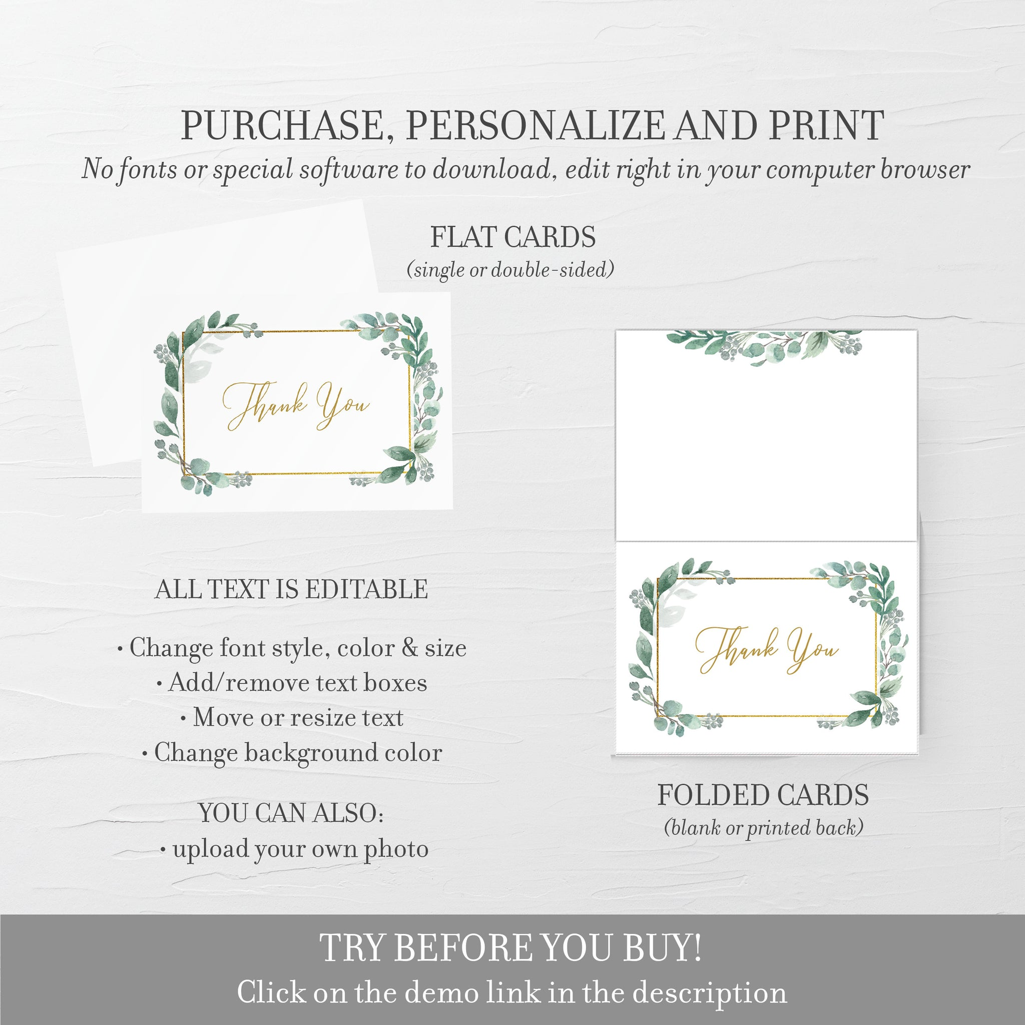 Greenery Thank You Card Printable, Greenery Wedding Thank You Note, Folded and Flat Cards 5X3.5, Editable Template DIGITAL DOWNLOAD - GFG100 - @PlumPolkaDot