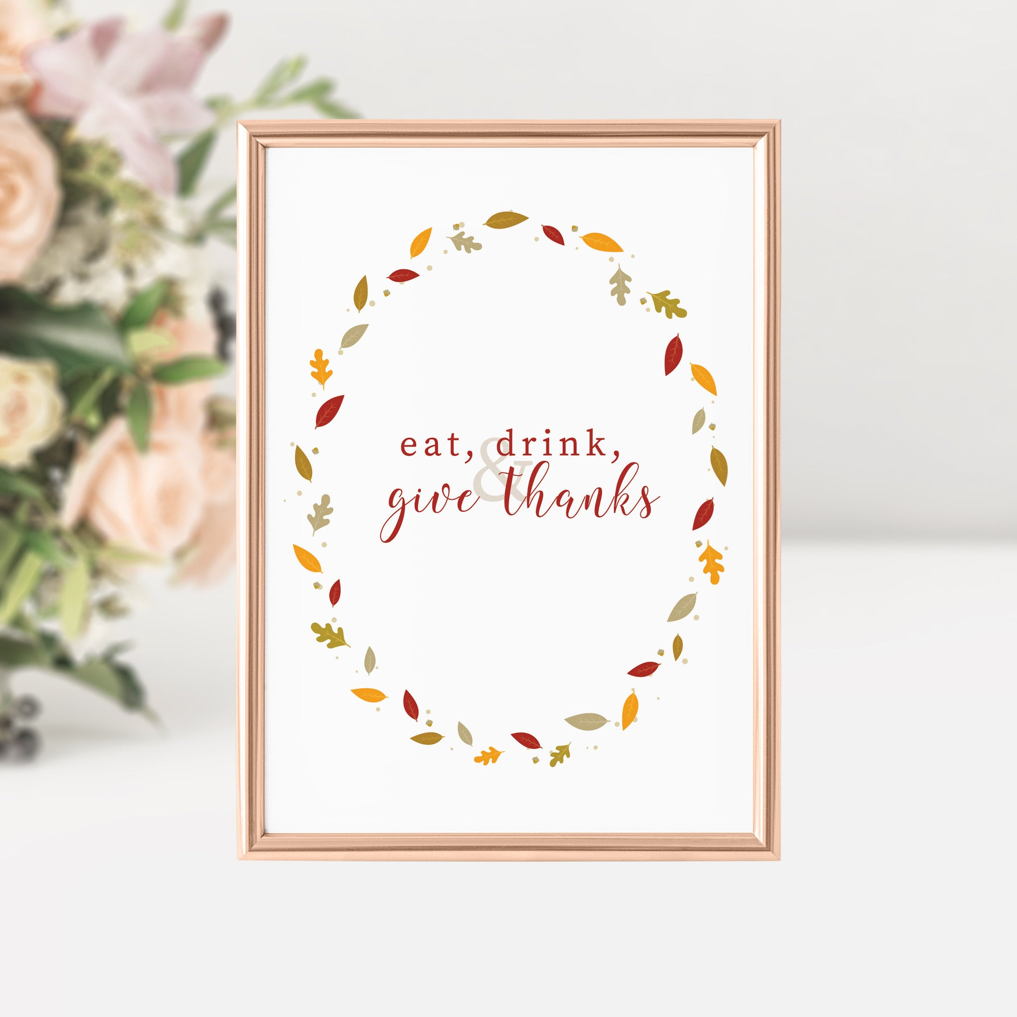 Eat, Drink and Give Thanks Sign, Thanksgiving Printable Art, Fall Decorations for Home, INSTANT DOWNLOAD - FL100