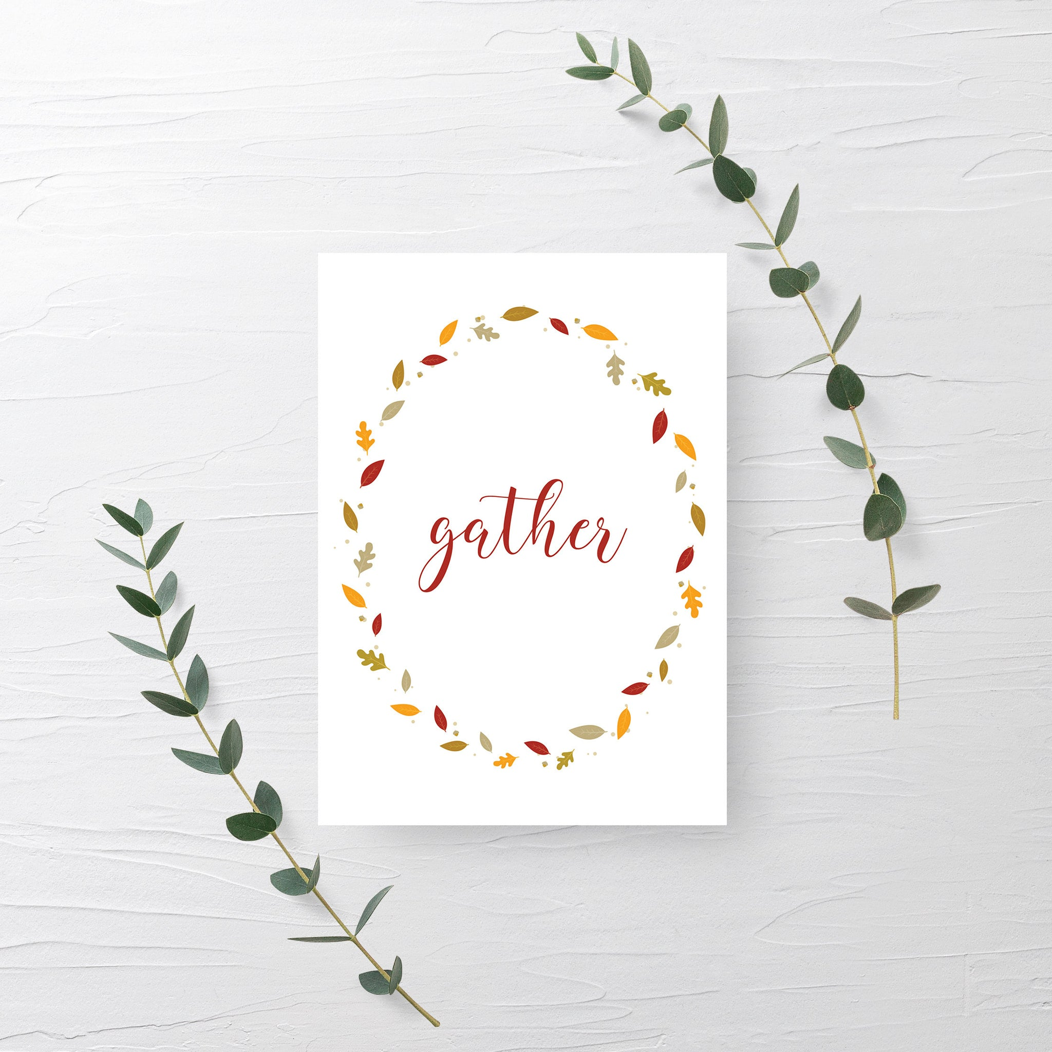 Gather Sign Printable, Thanksgiving Decor, Thanksgiving Signs Printable, Fall Decor for Mantle, INSTANT DOWNLOAD - FL100 - @PlumPolkaDot