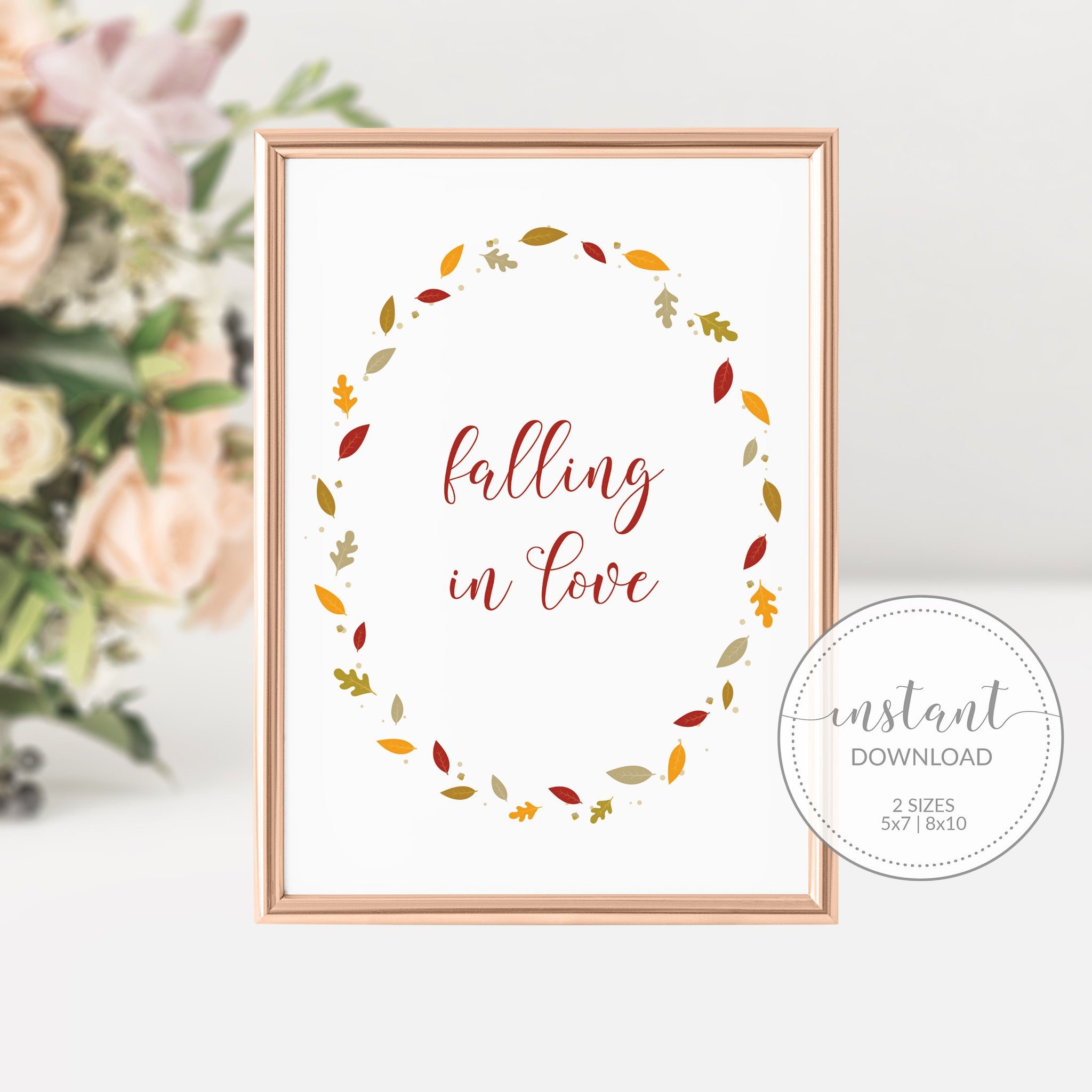 Falling in Love Sign, Wedding Fall Decor, Falling In Love Bridal Shower Sign, Fall in Love Sign, INSTANT DOWNLOAD - FL100 - @PlumPolkaDot