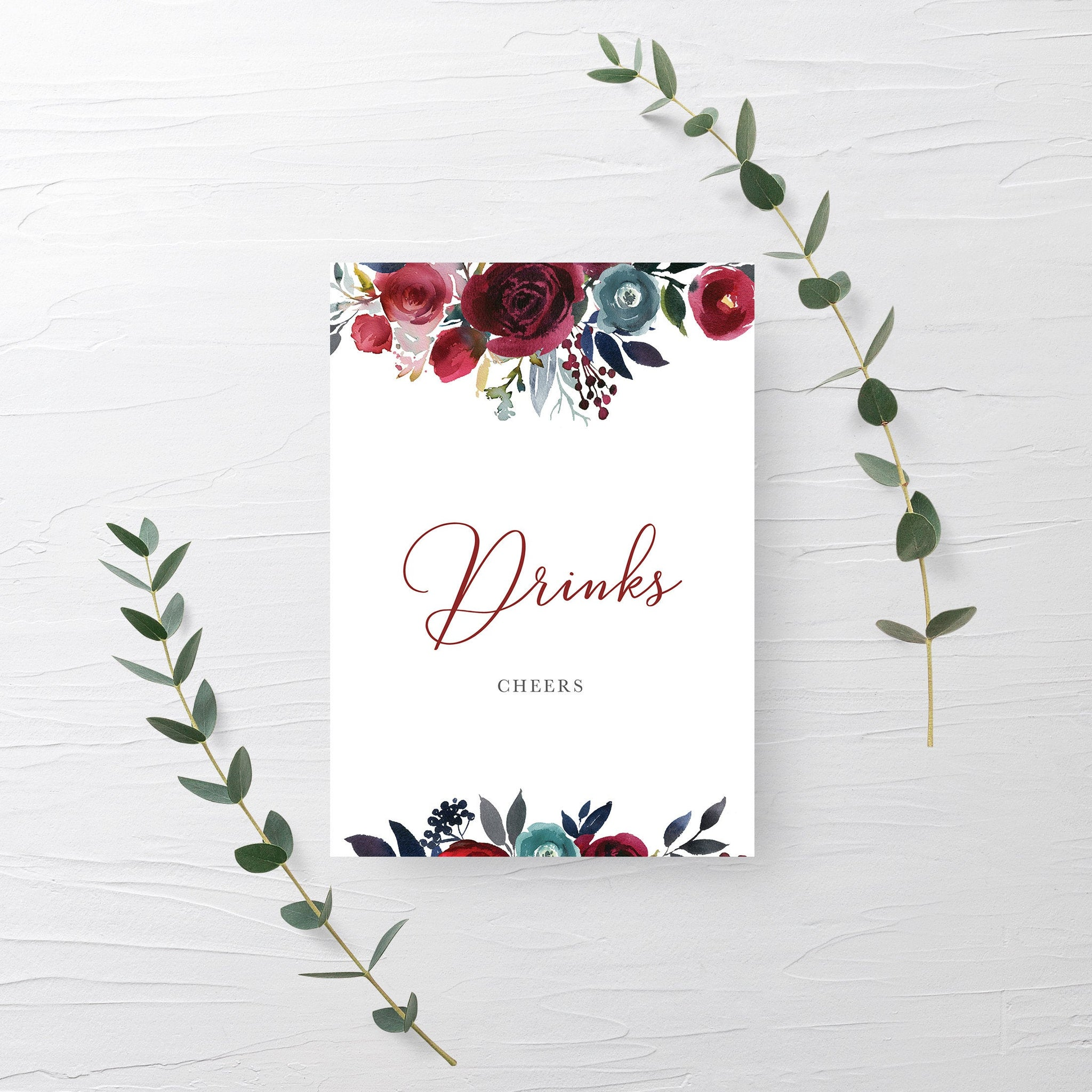 Burgundy Wedding Decorations, Drinks Sign Printable, Burgundy and Navy Wedding, INSTANT DOWNLOAD - BB100 - @PlumPolkaDot