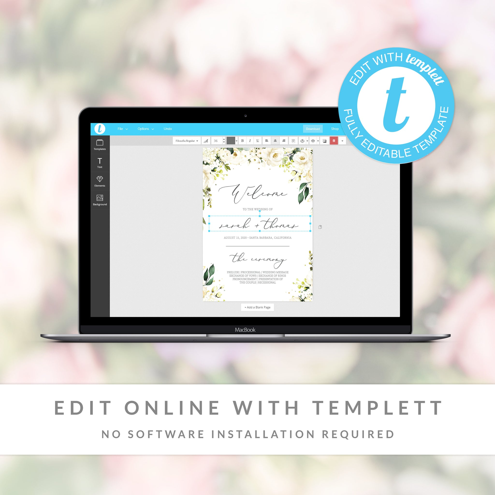 White Floral Greenery Wedding Program Template, Wedding Ceremony Programs, Editable Wedding Program, 5x7 DIGITAL DOWNLOAD - WRG100 - @PlumPolkaDot