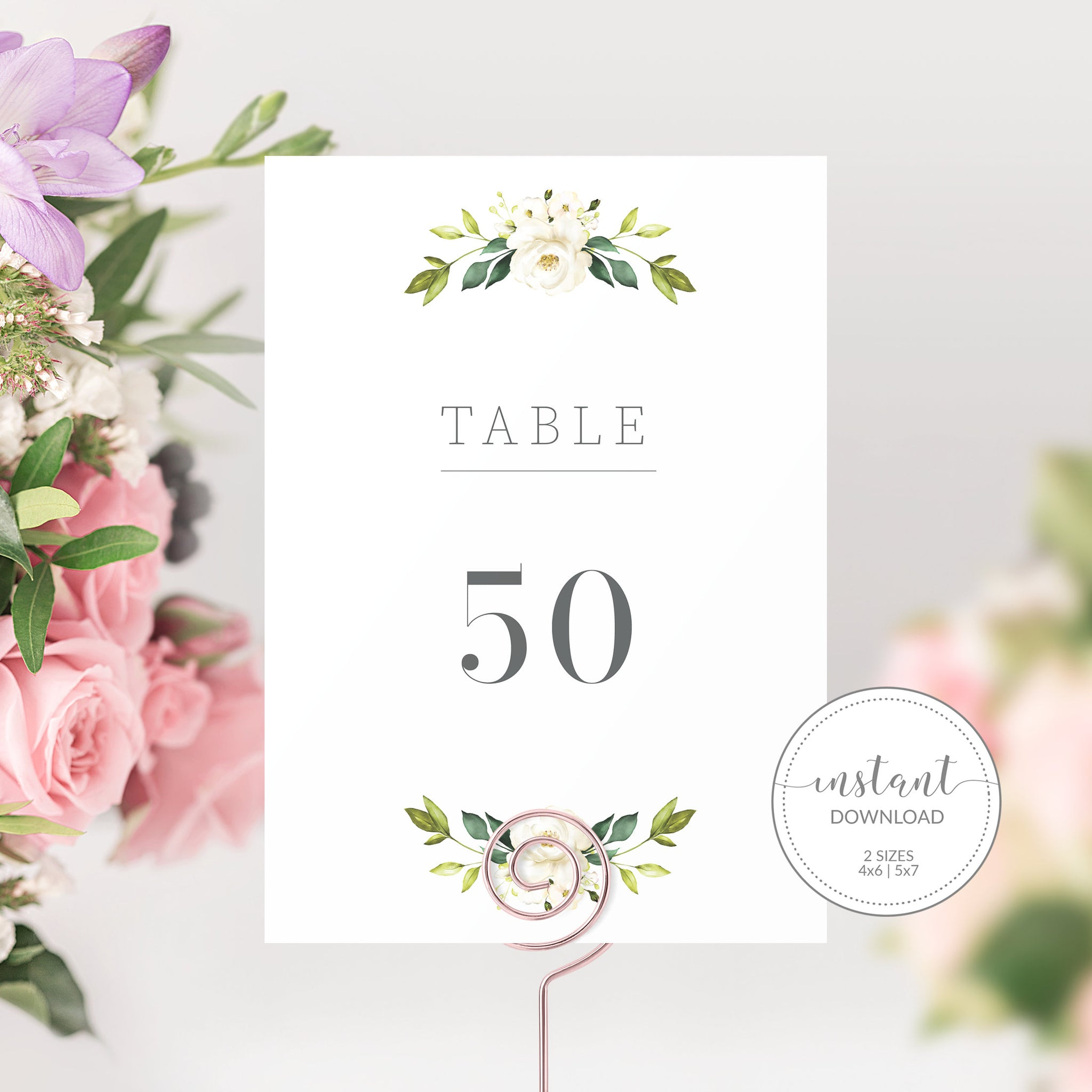 White Floral Greenery Wedding Table Numbers 1-50, Table Number Cards Wedding, Table Numbers 4x6 and 5x7, Printable INSTANT DOWNLOAD - WRG100
