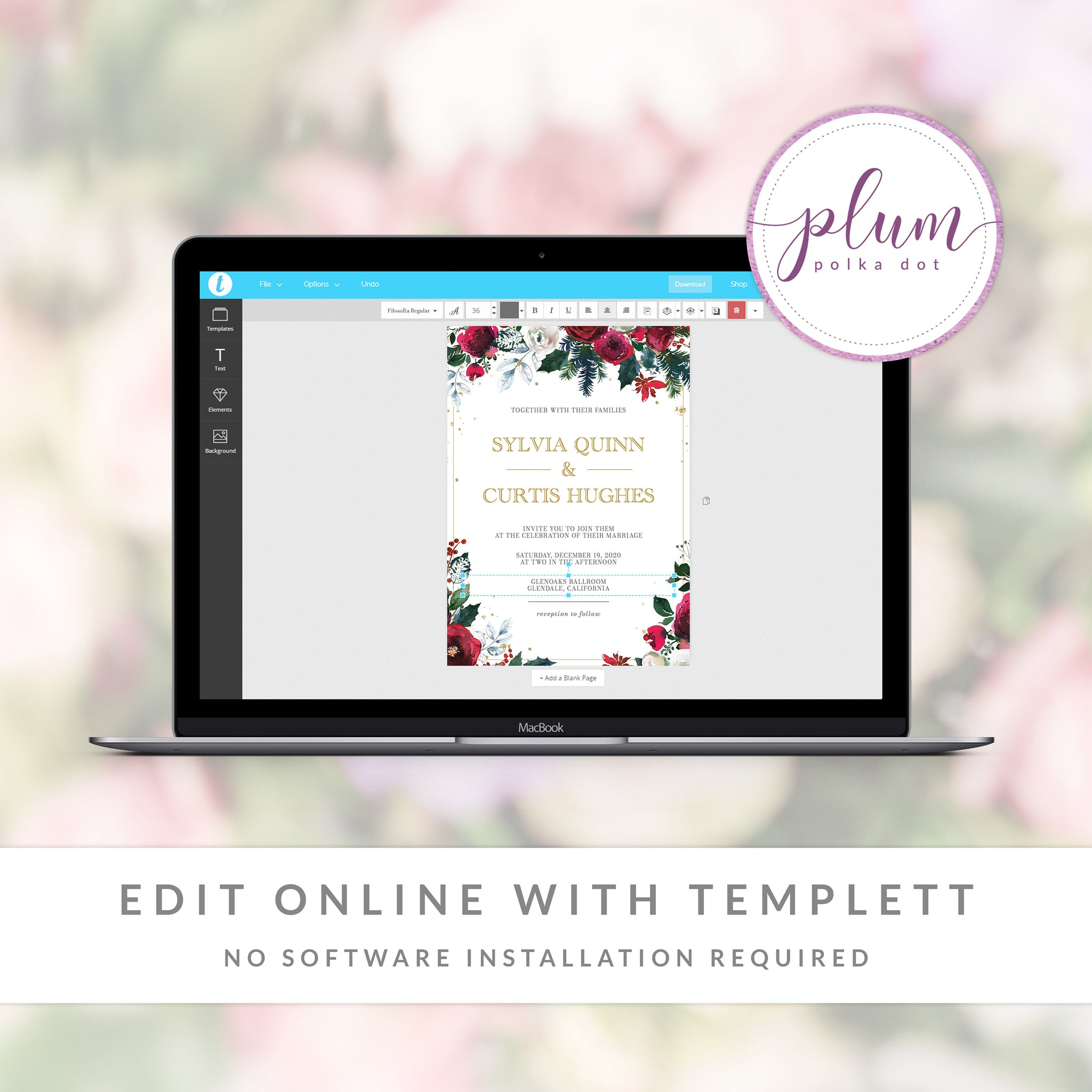 Christmas Wedding Invitation Template, Holiday Wedding Invitation Set, Editable Winter Wedding Invitation, DIGITAL DOWNLOAD - CG100 - @PlumPolkaDot