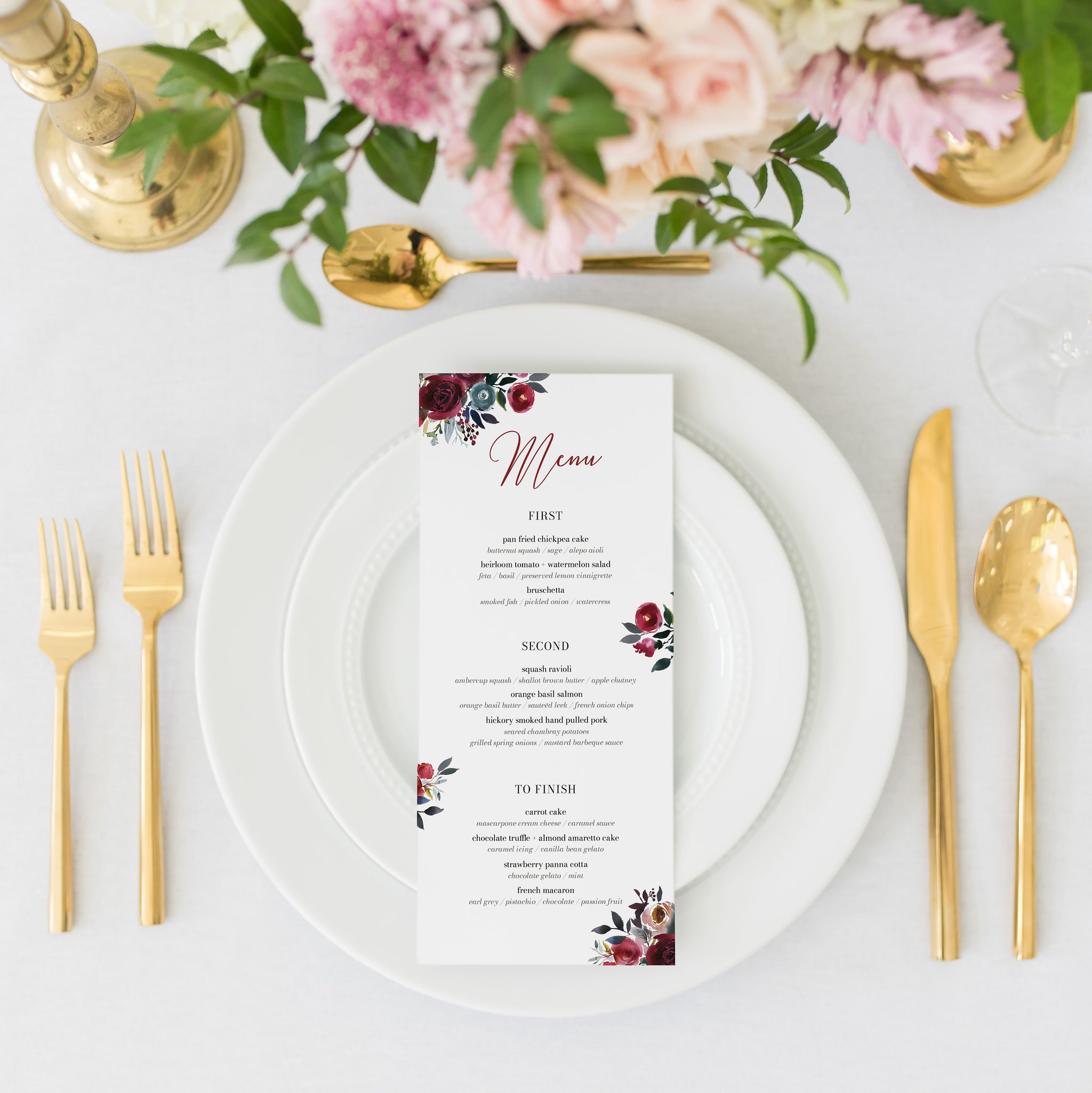 Burgundy and Navy Wedding Menu Template Download, Winter Wedding Menu Editable Download, Printable Menu 4x9 & 5x7 - BB100 - @PlumPolkaDot