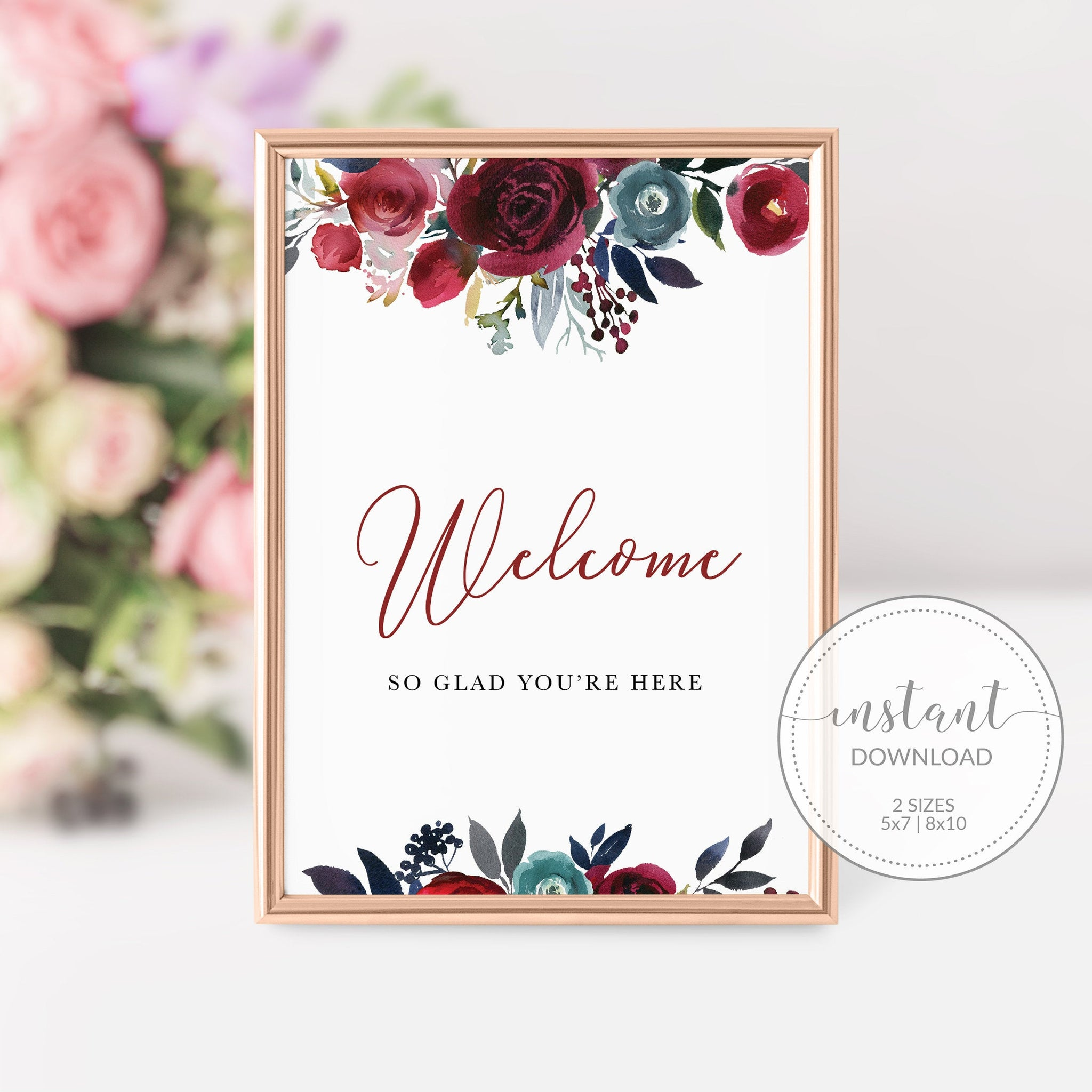 Burgundy and Navy Bridal Shower Welcome Sign Printable, Burgundy Bridal Shower Decorations, INSTANT DOWNLOAD - BB100