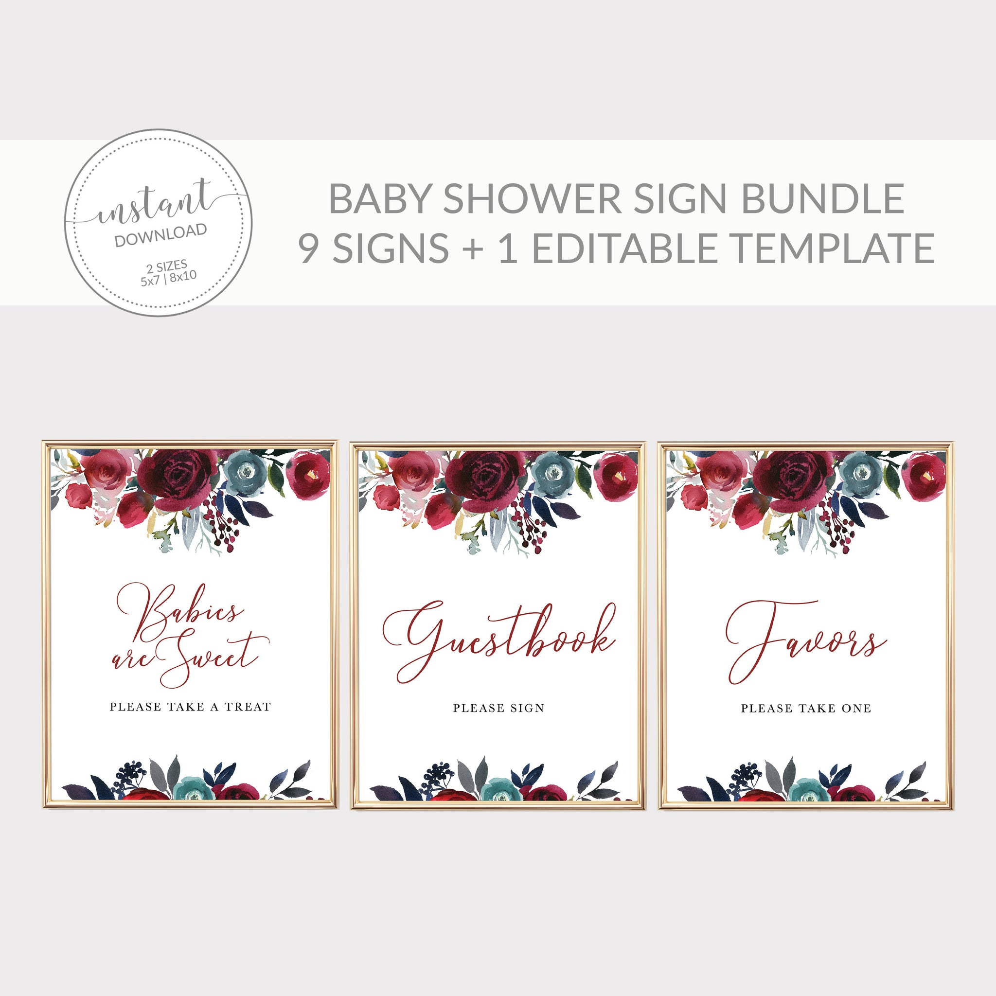 Burgundy and Navy Baby Shower Decorations, Burgundy Baby Shower Sign Bundle, Editable Baby Shower Template, DIGITAL DOWNLOAD - BB100 - @PlumPolkaDot