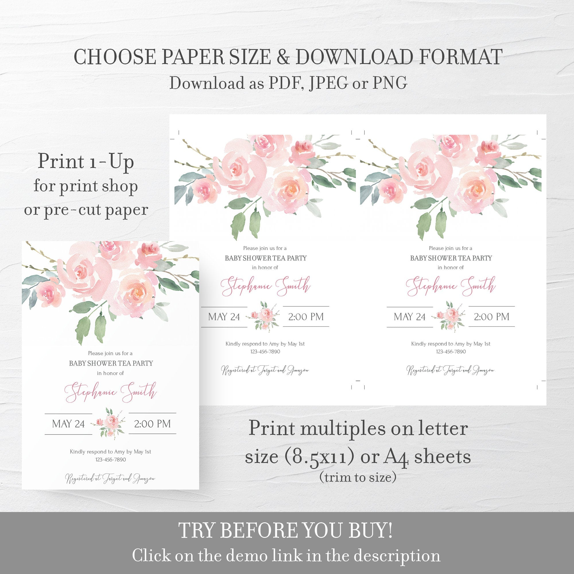 Tea Party Baby Shower Invitation Template, Pink Floral Baby Shower Invite Printable, Editable DIGITAL DOWNLOAD - FR100