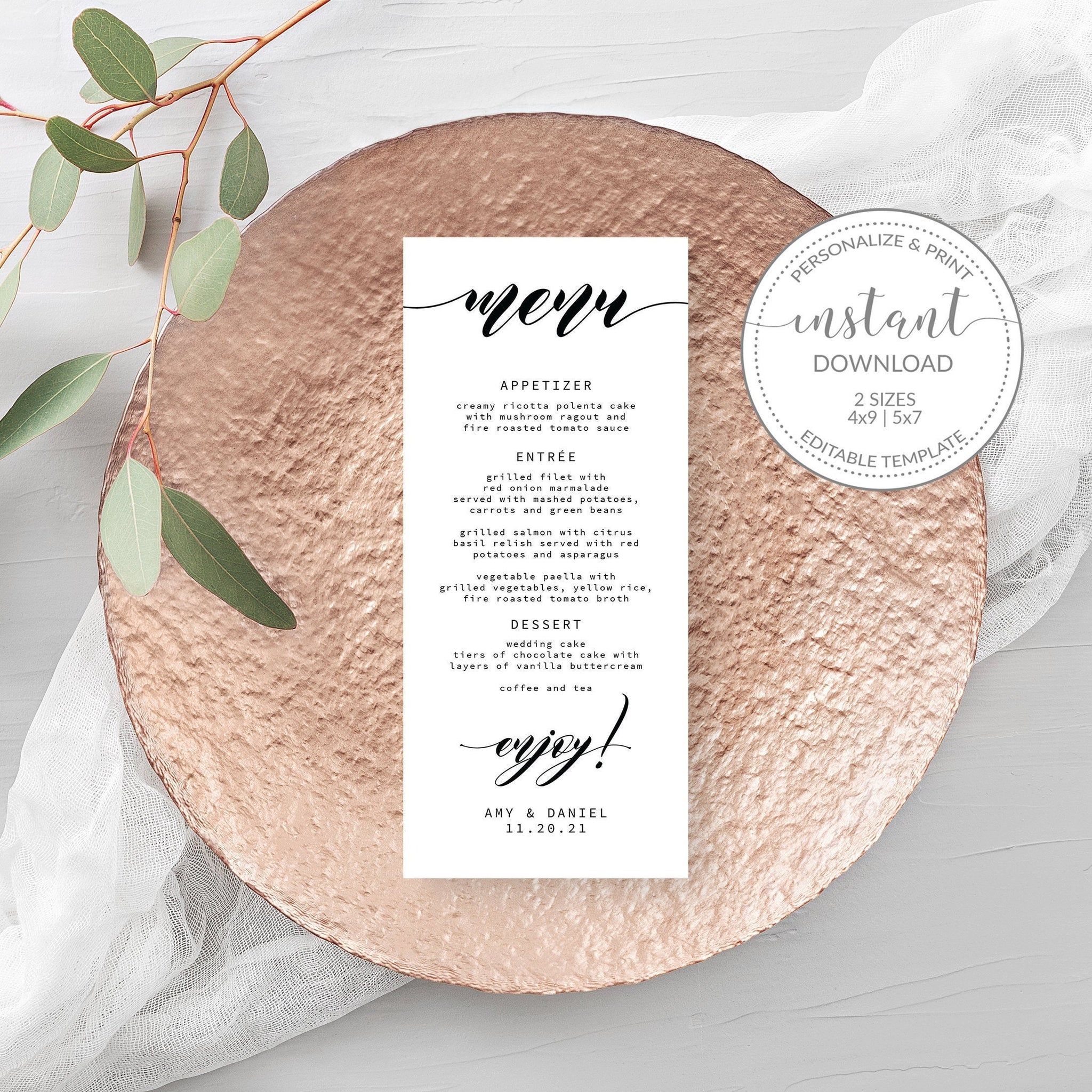 Wedding Menu Template Download, Black and White Menu Cards, Personalized Wedding Menu, 4x9 & 5x7 - SFB100 - @PlumPolkaDot