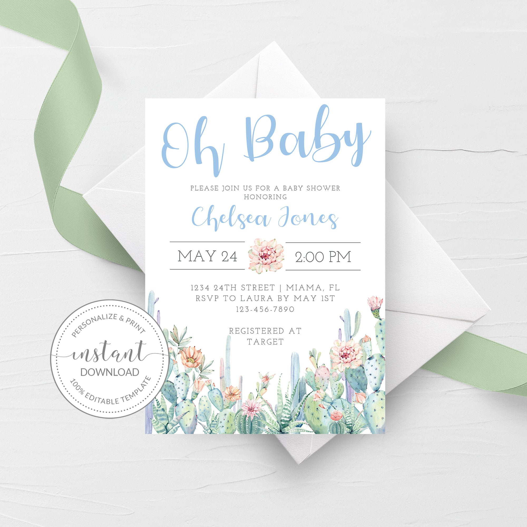 Cactus Baby Shower Invitation, Boy Baby Shower Invitation Template, Editable DIGITAL DOWNLOAD - CS100