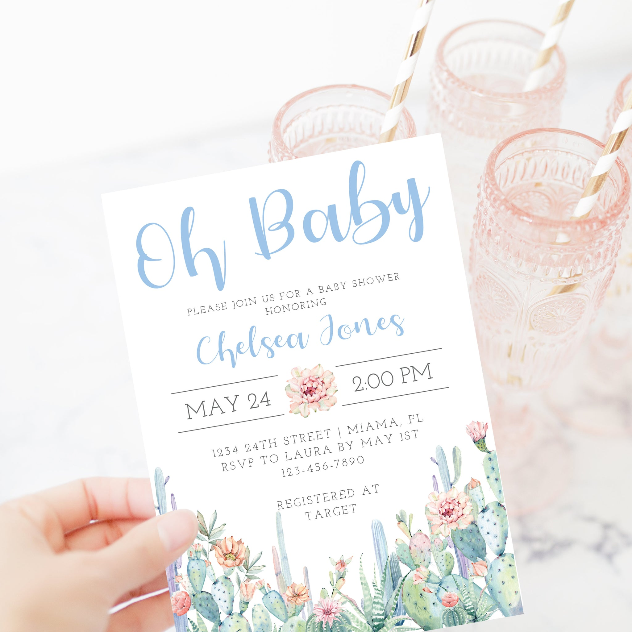 Cactus Baby Shower Invitation, Boy Baby Shower Invitation Template, Editable DIGITAL DOWNLOAD - CS100 - @PlumPolkaDot