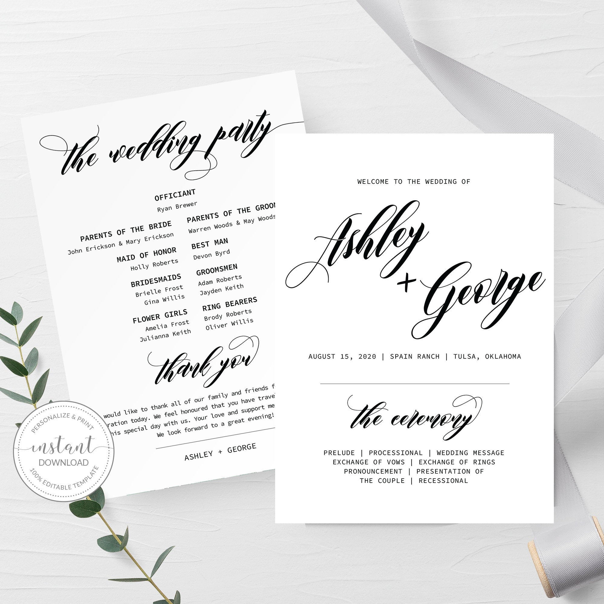 Black Script Wedding Program Template, Minimalist Script Wedding Ceremony  Programs, Editable INSTANT DOWNLOAD - SFB10