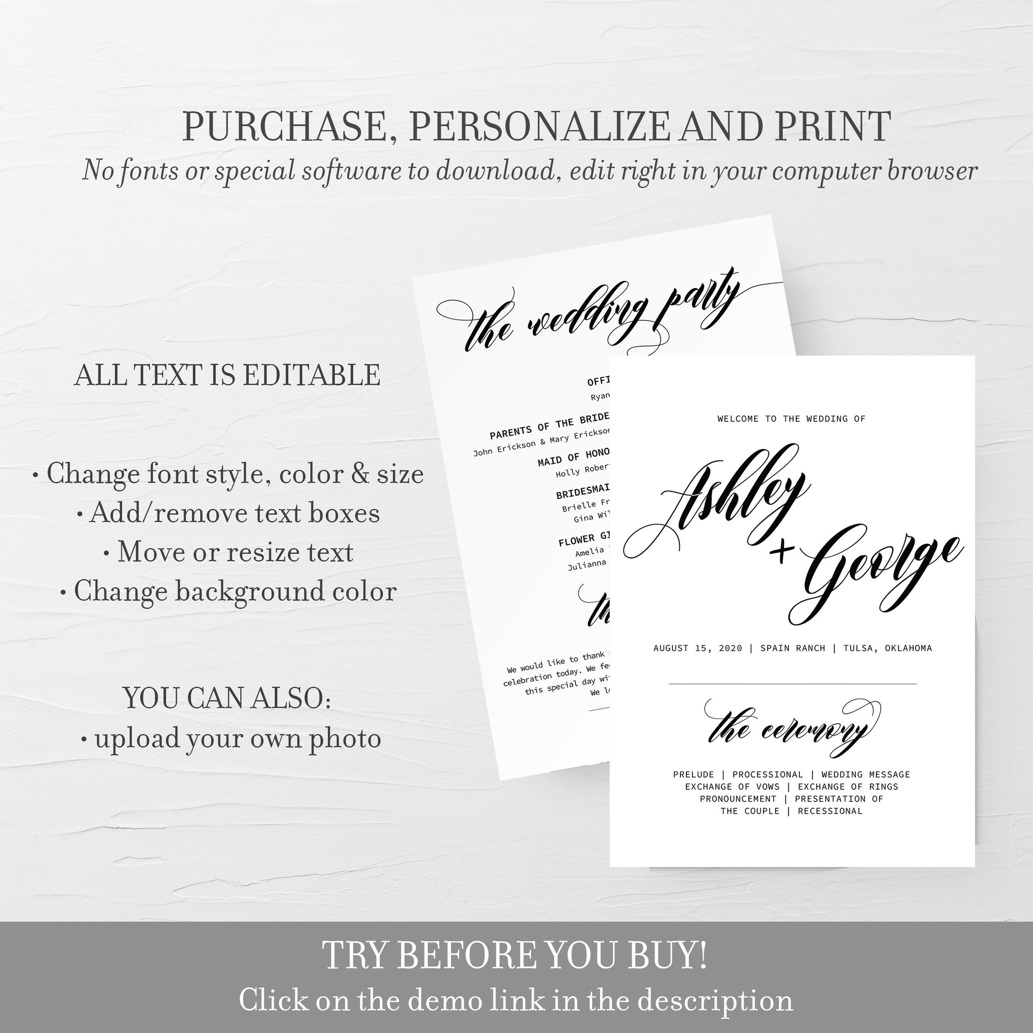 Black Script Wedding Program Template, Classic Wedding Ceremony Programs, Editable Wedding Program, 5x7 DIGITAL DOWNLOAD - SFB100 - @PlumPolkaDot