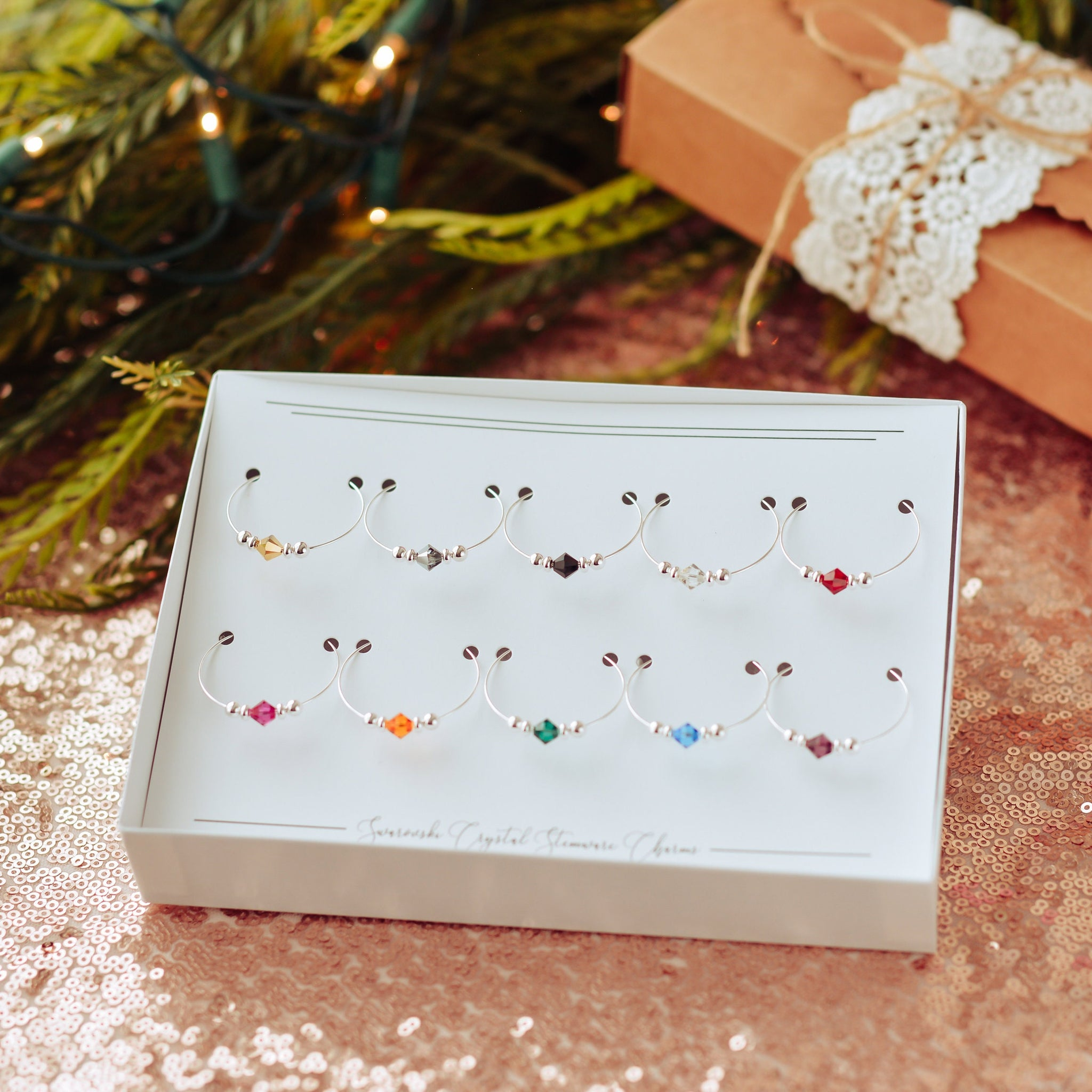 Wine Charm Boxed Set, Parents Christmas Gift, Mom Christmas Present, Mom Gift, Christmas Gift for Wine Lover, Swarovski Crystal