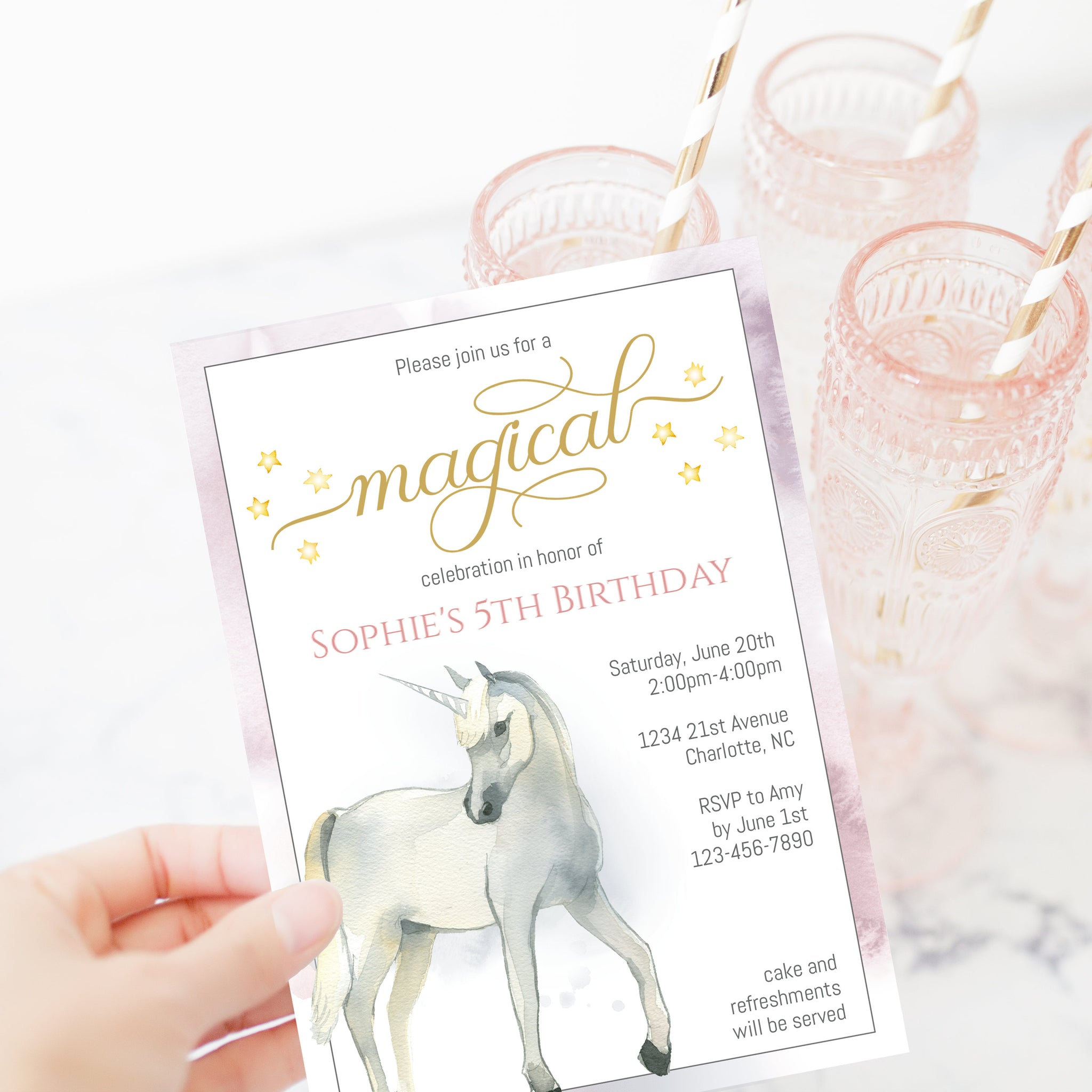 Unicorn Birthday Party Invitation Template, Magical Unicorn Birthday Invitation Printable, Editable DIGITAL DOWNLOAD - D200