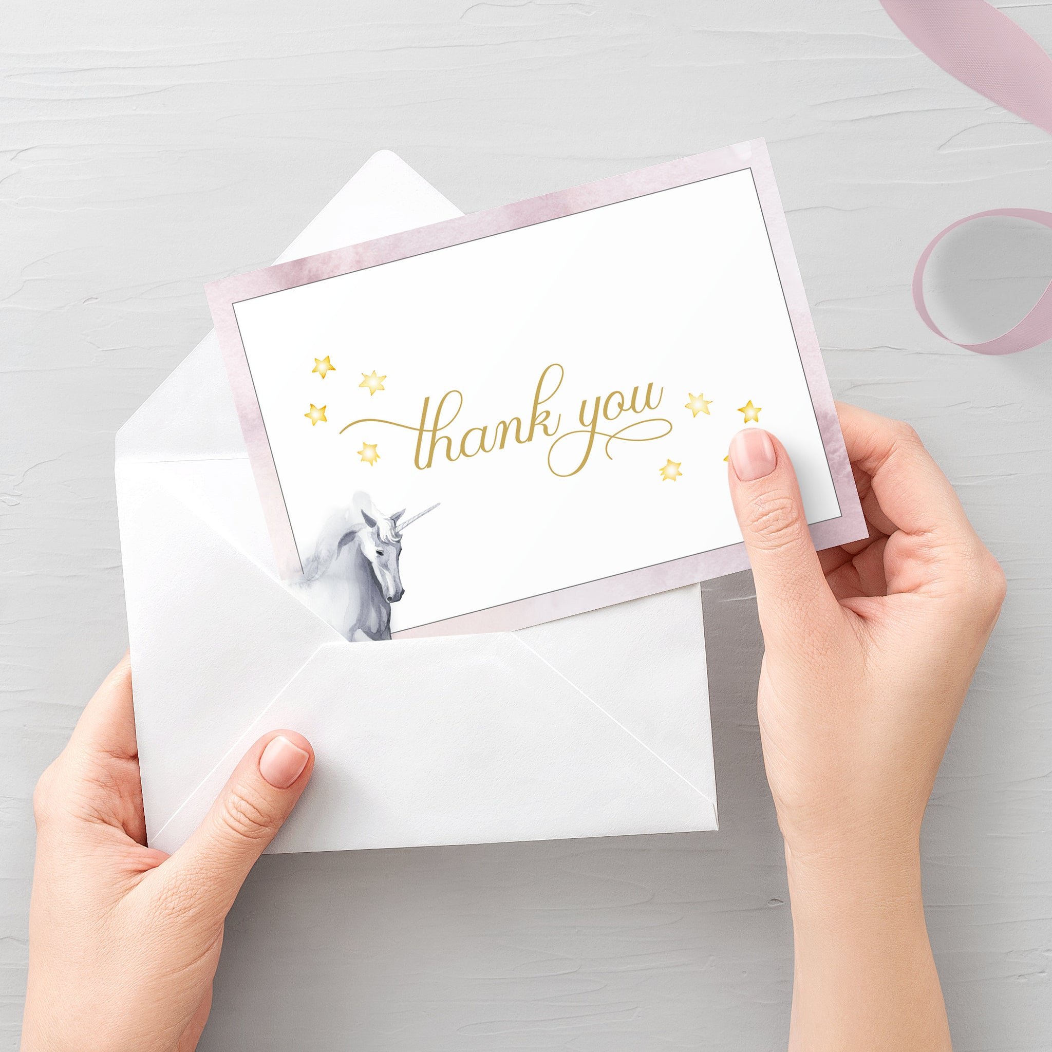 Unicorn Thank You Card Printable, Unicorn Thank You Note, Folded and Flat Cards 5X3.5, Editable Template DIGITAL DOWNLOAD - D200 - @PlumPolkaDot