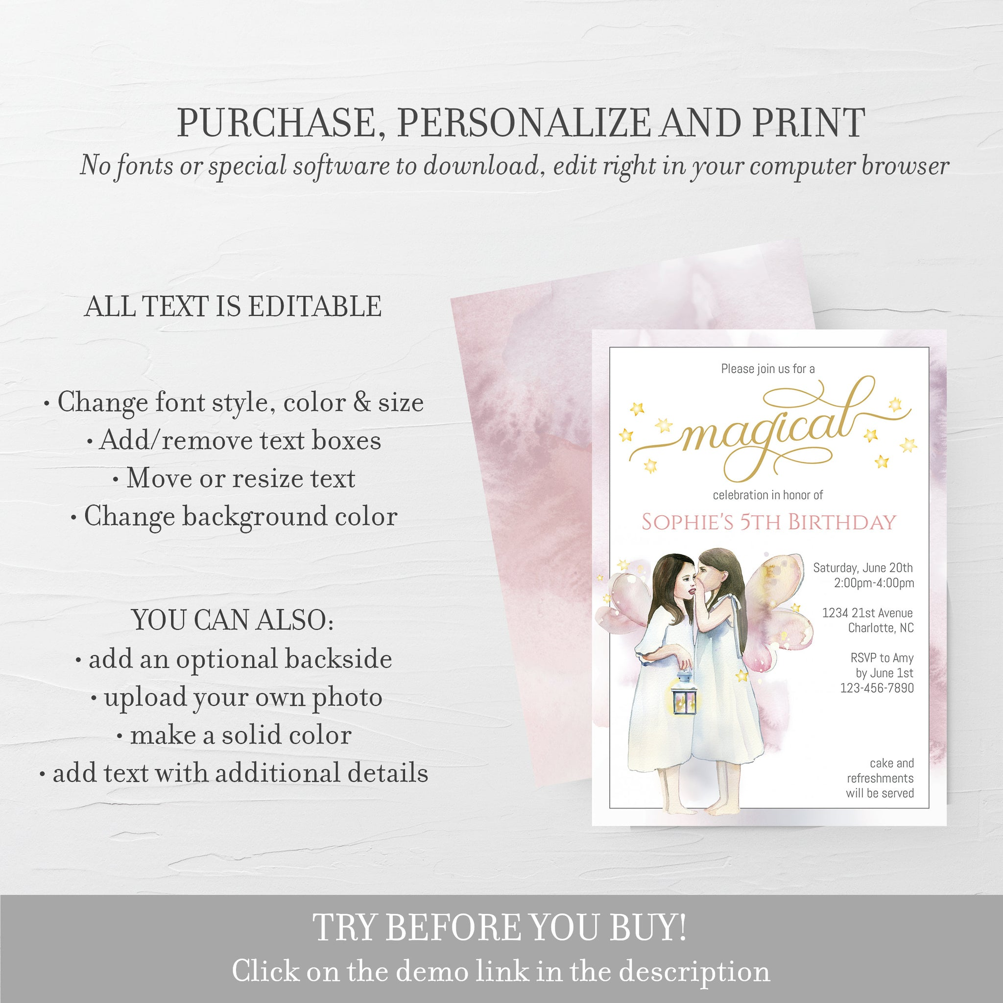 Fairy Theme Party Invitation Template, Fairy Birthday Party Invitation, Editable DIGITAL DOWNLOAD - D300