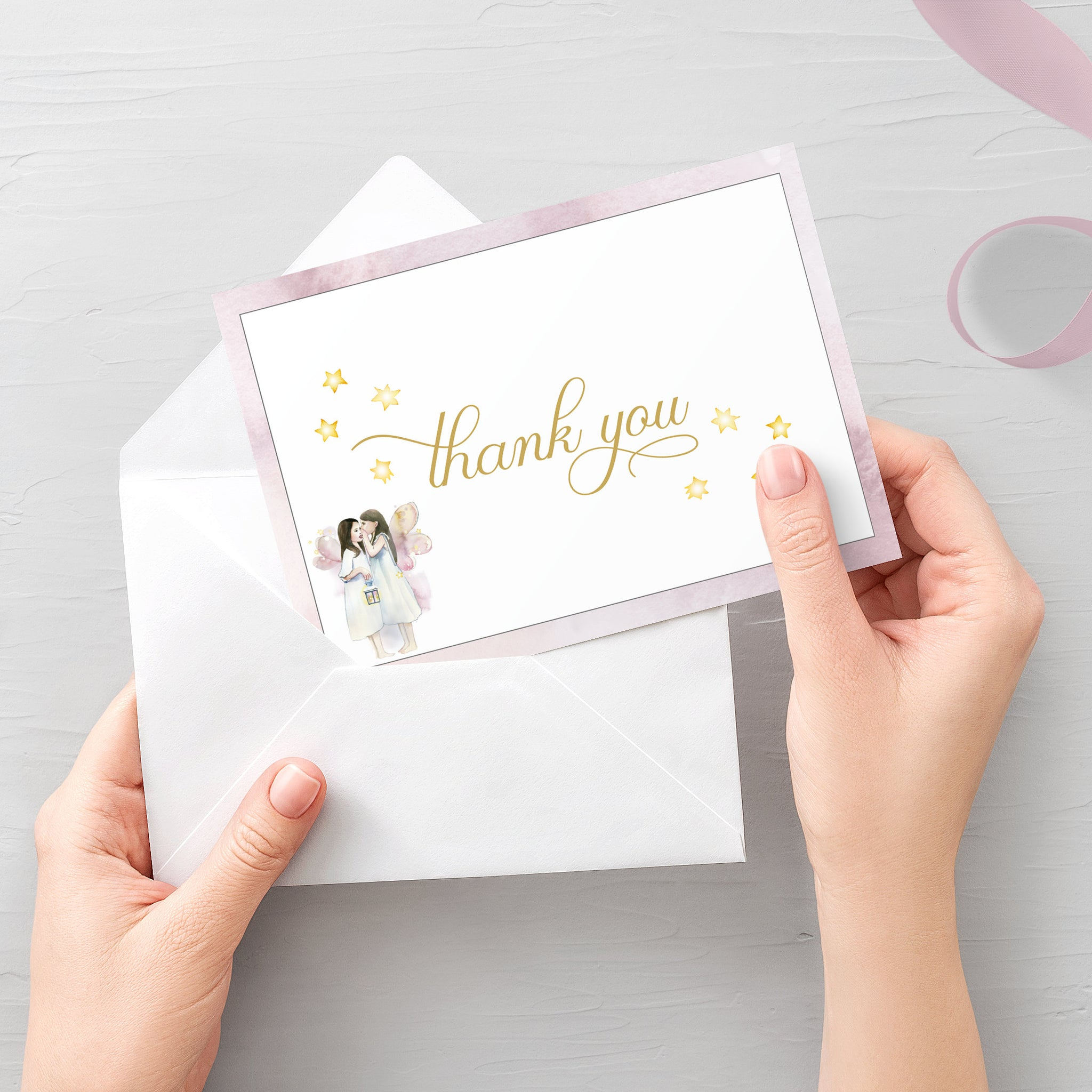 FairyThank You Card Printable, Fairy Thank You Note, Folded and Flat Cards 5X3.5, Editable Template DIGITAL DOWNLOAD - D300 - @PlumPolkaDot