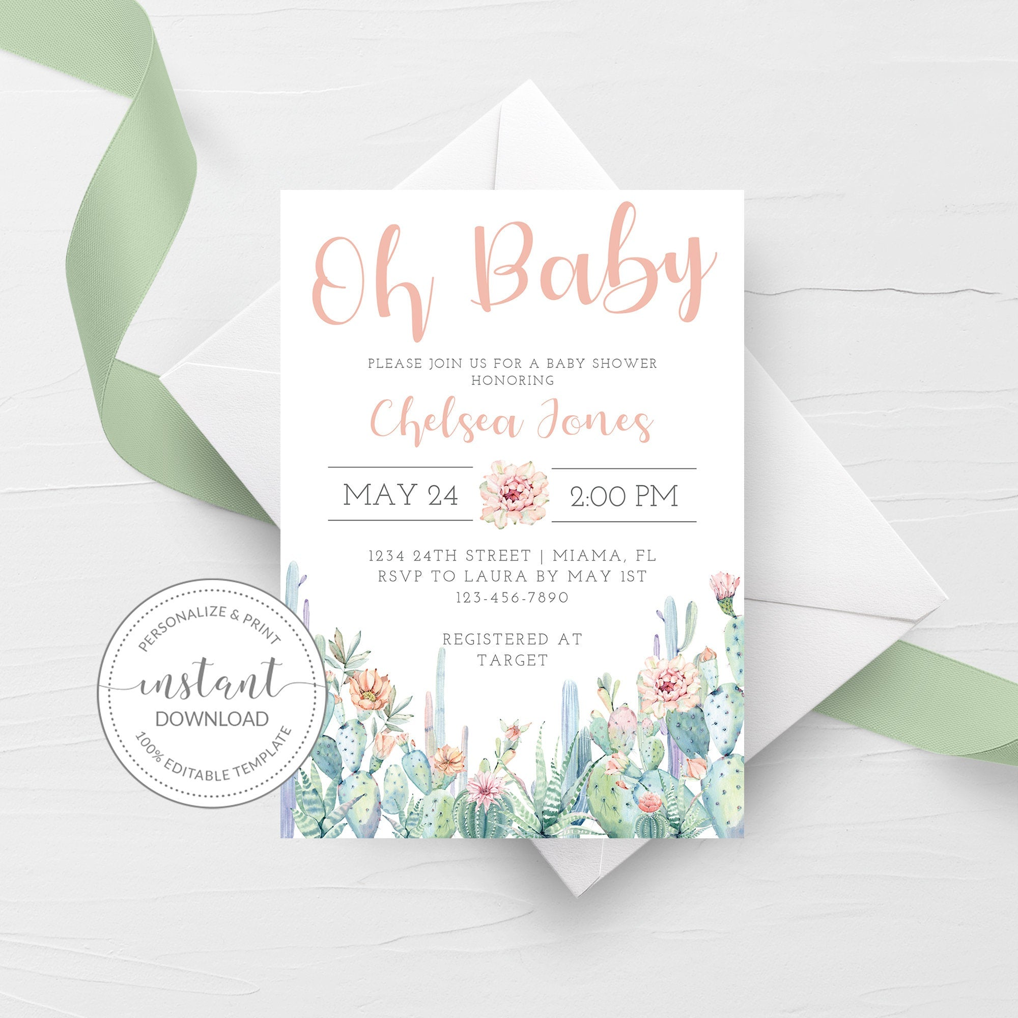 Cactus Baby Shower Invitation, Girl Baby Shower Invitation Template, Editable DIGITAL DOWNLOAD - CS100 - @PlumPolkaDot