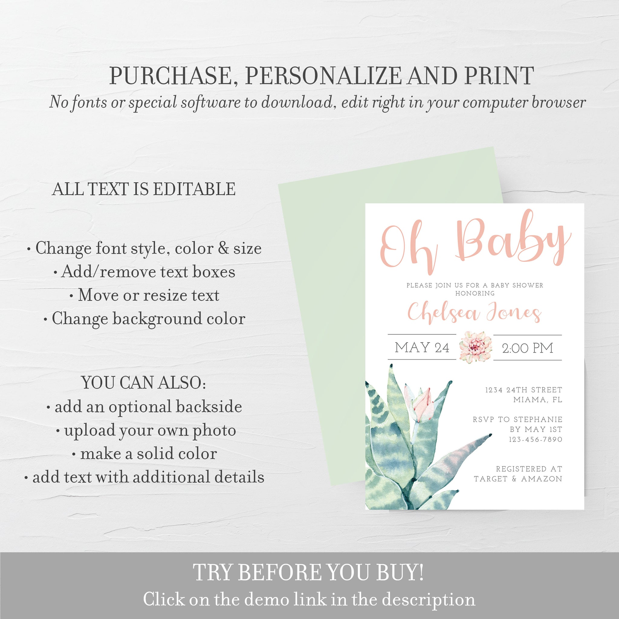 Succulent Baby Shower Invitation, Girl Baby Shower Invitation Template, Editable DIGITAL DOWNLOAD - CS100