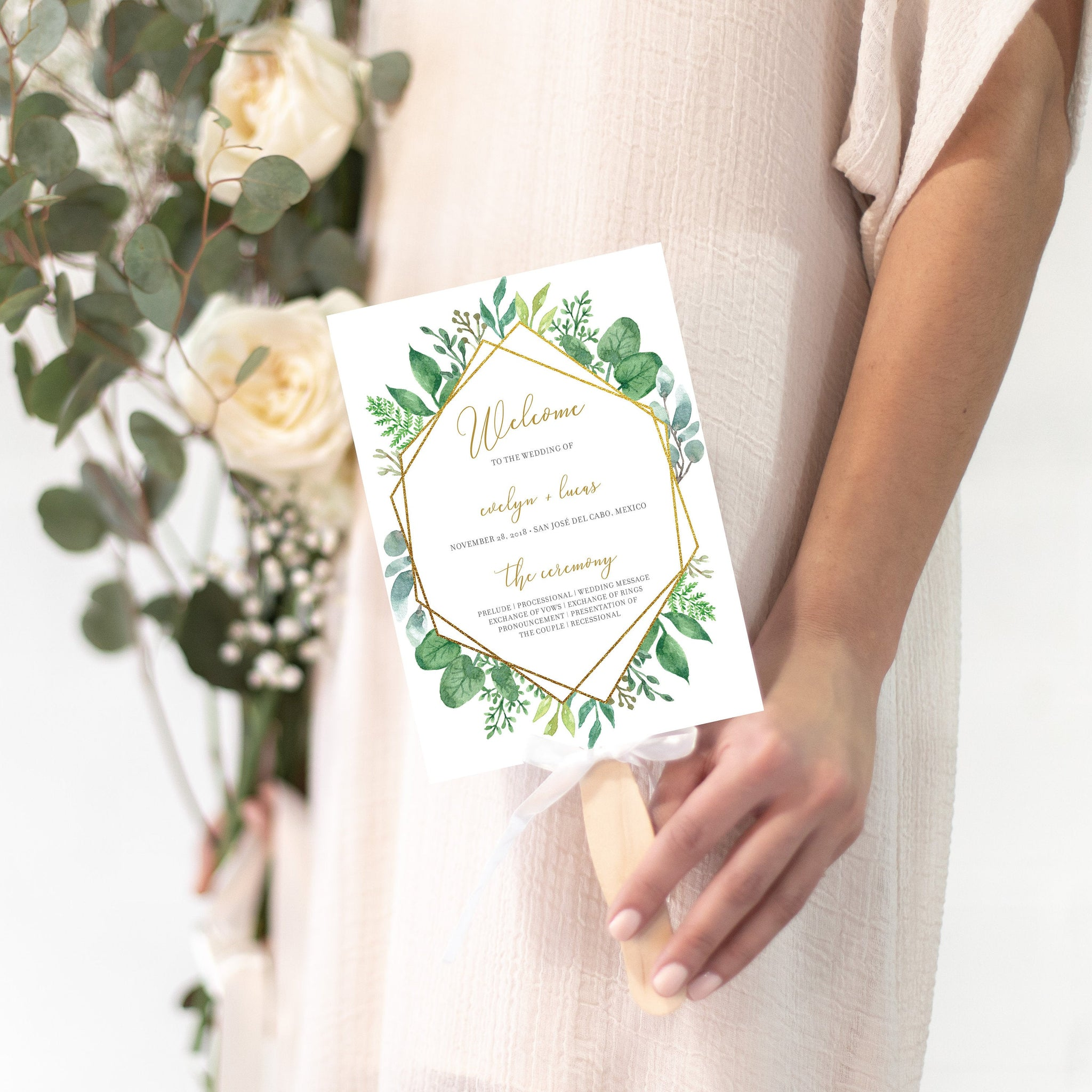 Greenery Wedding Ceremony Program Template, Wedding Programs Greenery, Editable Wedding Program, 5x7 DIGITAL DOWNLOAD - GFG100 - @PlumPolkaDot