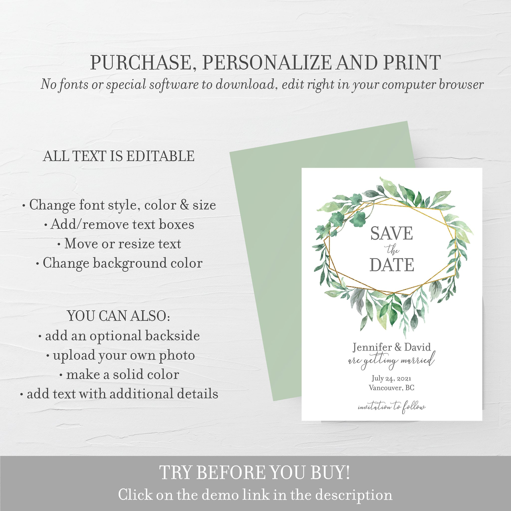 Greenery Save The Date Card, Editable Save The Date Template, Gold Geometric Wedding Stationary, 5x7 - GFG100 - @PlumPolkaDot