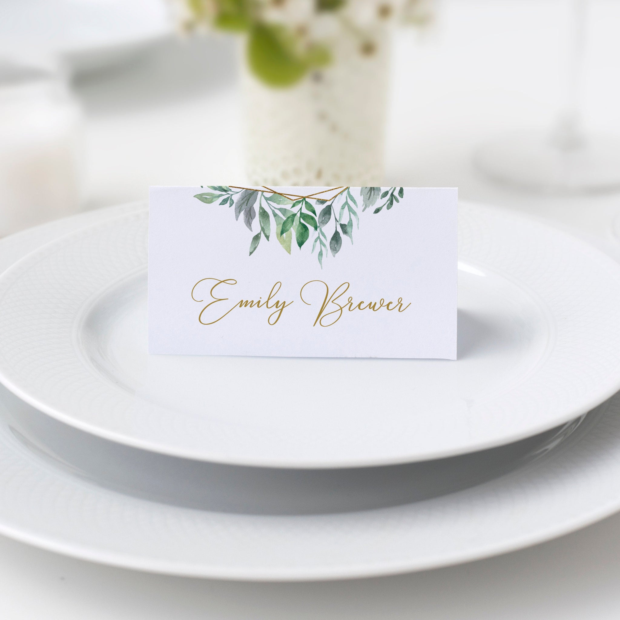 Greenery Wedding Place Card Template, Wedding Name Cards, Editable Printable Place Cards, DIGITAL DOWNLOAD - GFG100 - @PlumPolkaDot