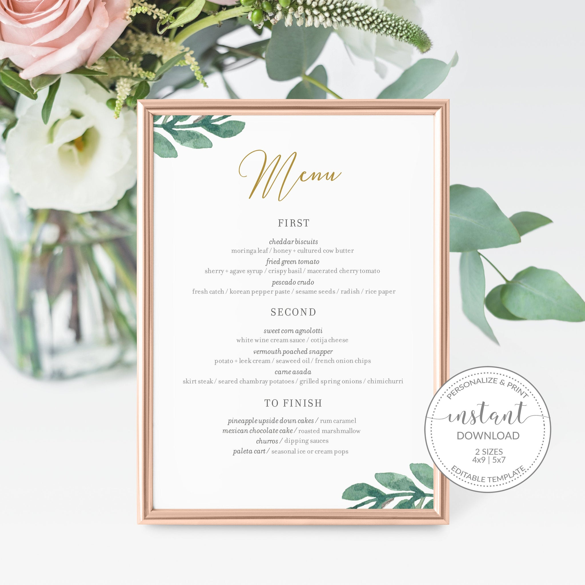 Greenery Wedding Menu Template, Greenery Menu Editable Download, Editable Menu Cards, Printable Menu, 4x9 & 5x7 - GFG100 - @PlumPolkaDot