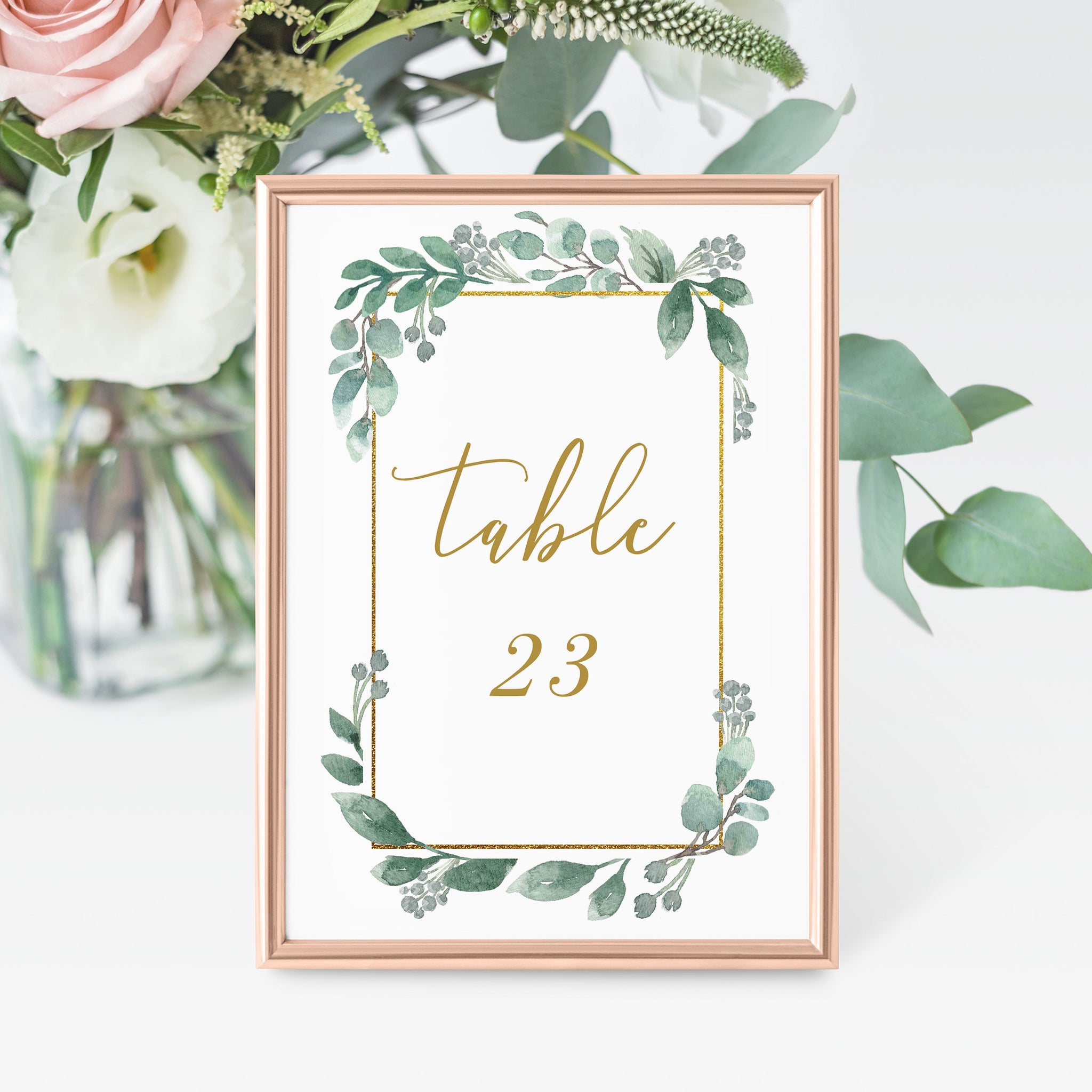 Greenery Wedding Table Numbers 1-50, Table Number Cards Wedding, Table Numbers 4x6 and 5x7, Printable INSTANT DOWNLOAD - GFG100