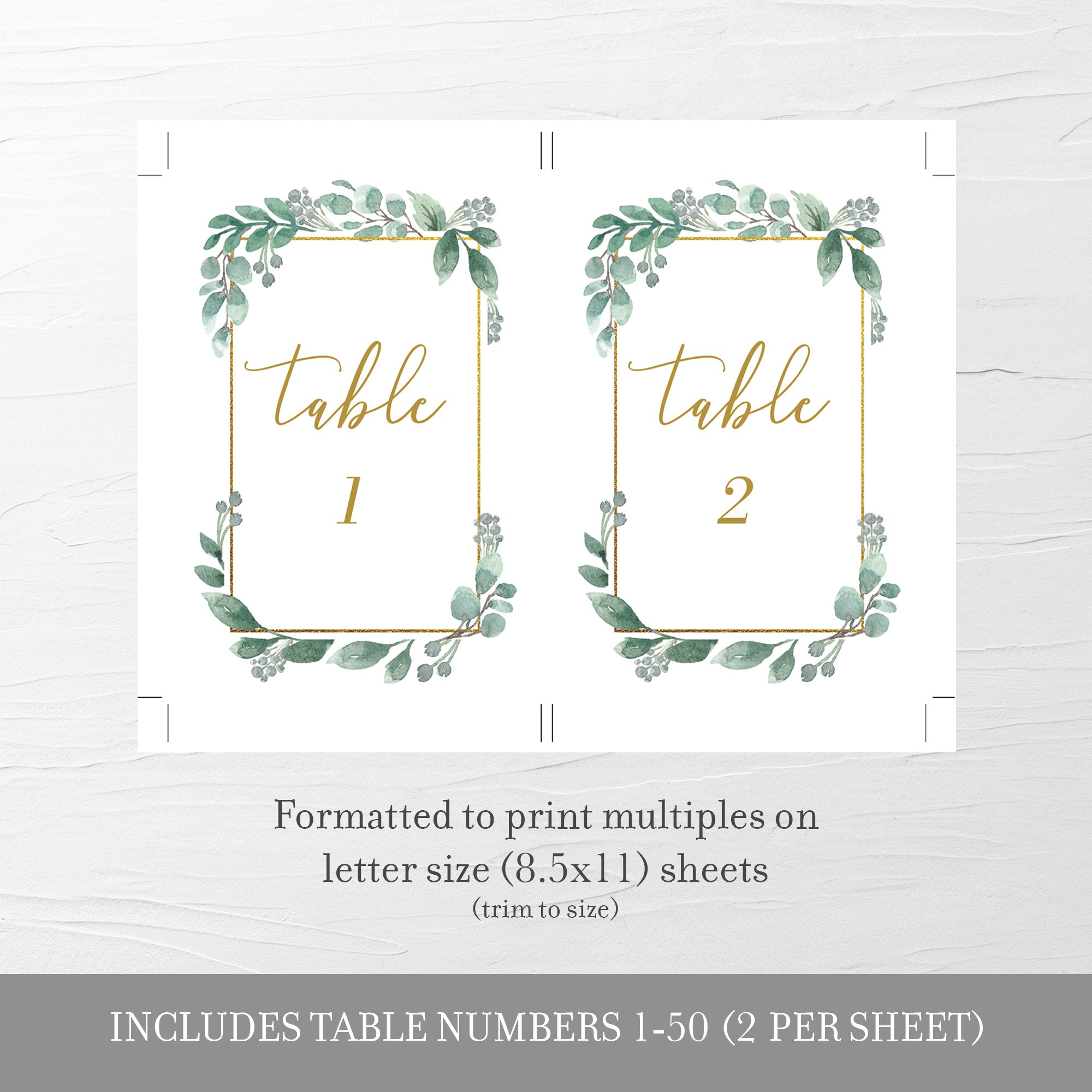 Greenery Wedding Table Numbers 1-50, Table Number Cards Wedding, Table Numbers 4x6 and 5x7, Printable INSTANT DOWNLOAD - GFG100 - @PlumPolkaDot