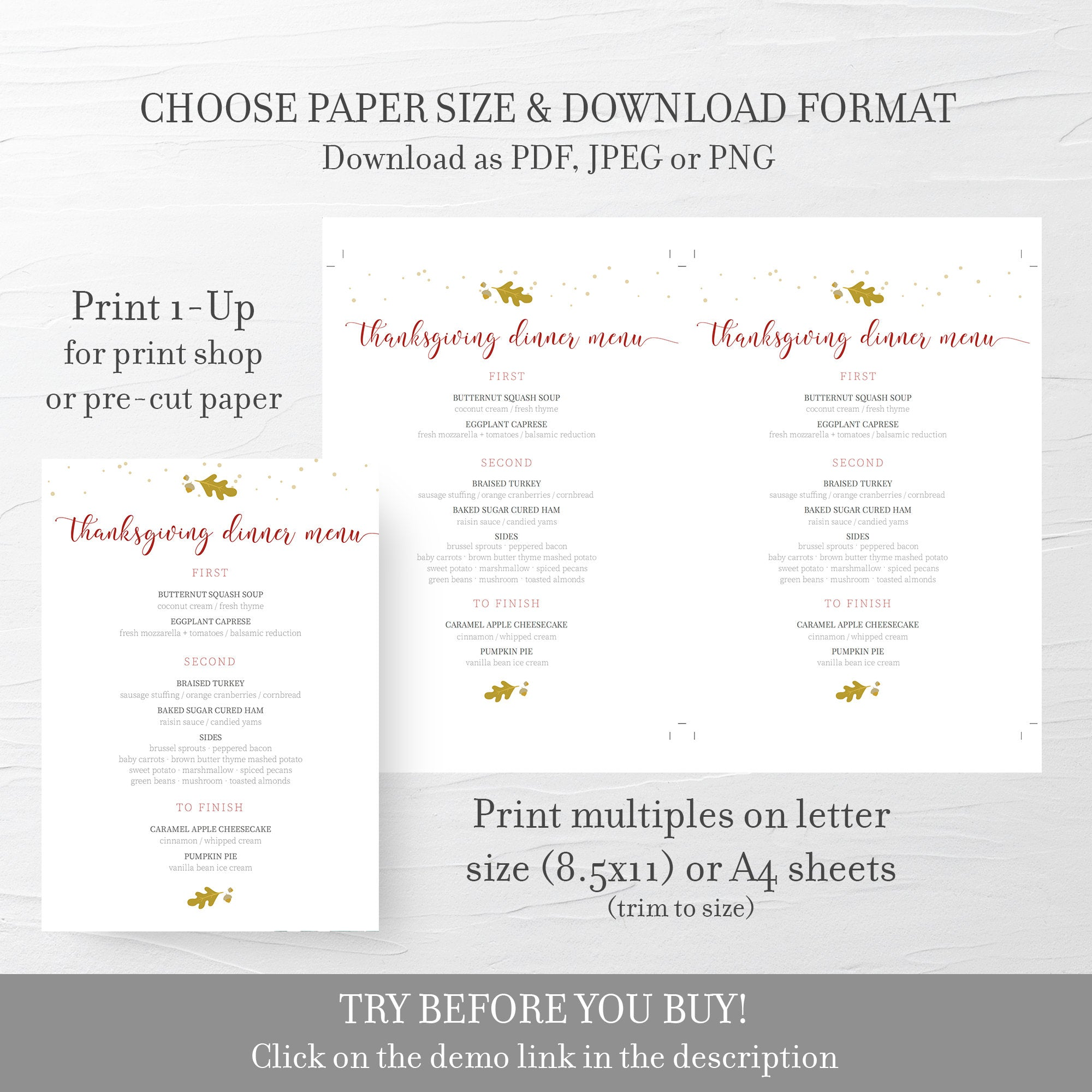 Thanksgiving Menu Template, Thanksgiving Table Decor, Thanksgiving Dinner Menu Printable, Editable DIGITAL DOWNLOAD - FL100