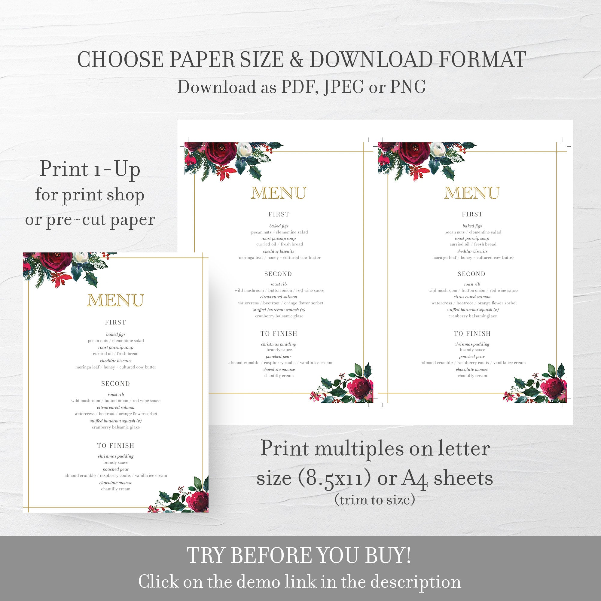 Christmas Menu Template, Christmas Table Decor, Christmas Dinner Menu Printable, Editable DIGITAL DOWNLOAD - CG100