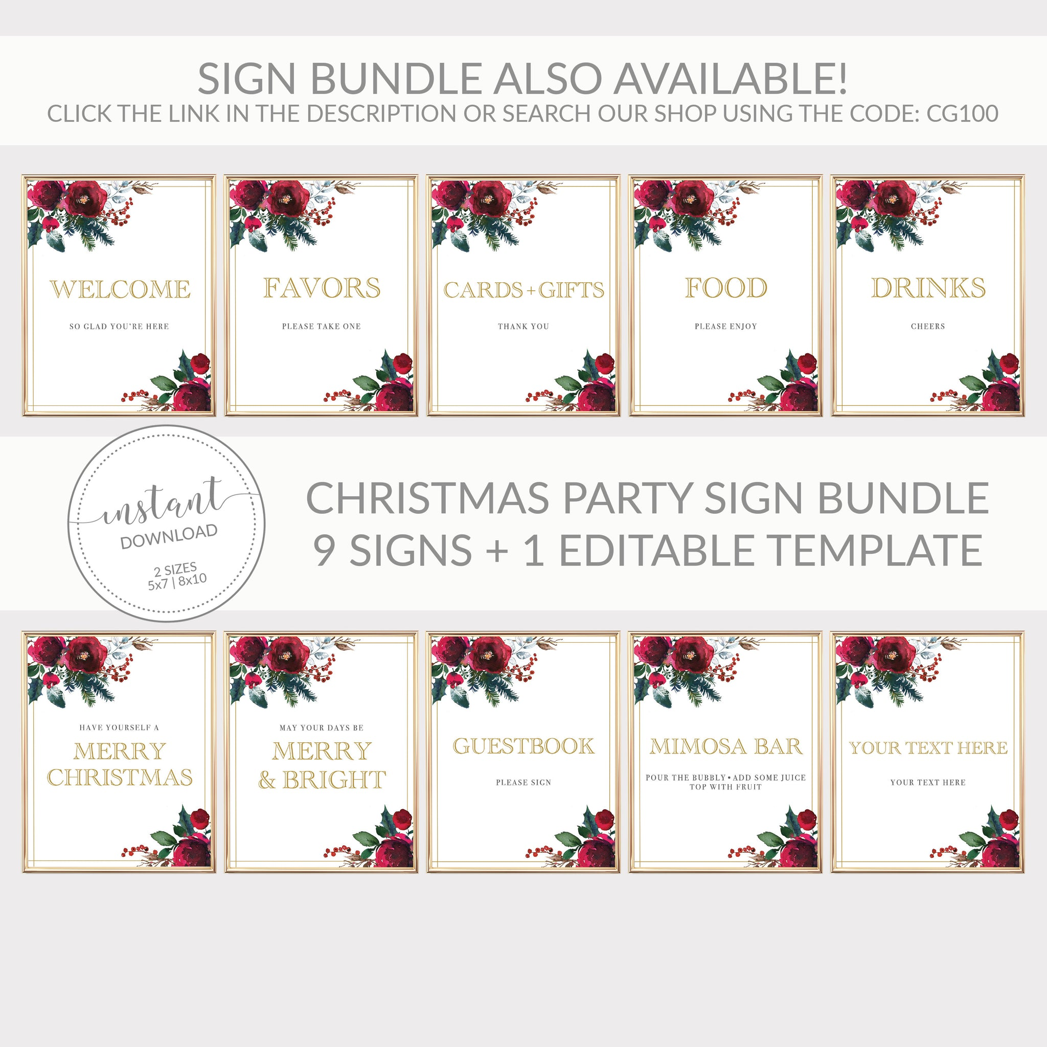 Christmas Menu Template, Christmas Table Decor, Christmas Dinner Menu Printable, Editable DIGITAL DOWNLOAD - CG100 - @PlumPolkaDot