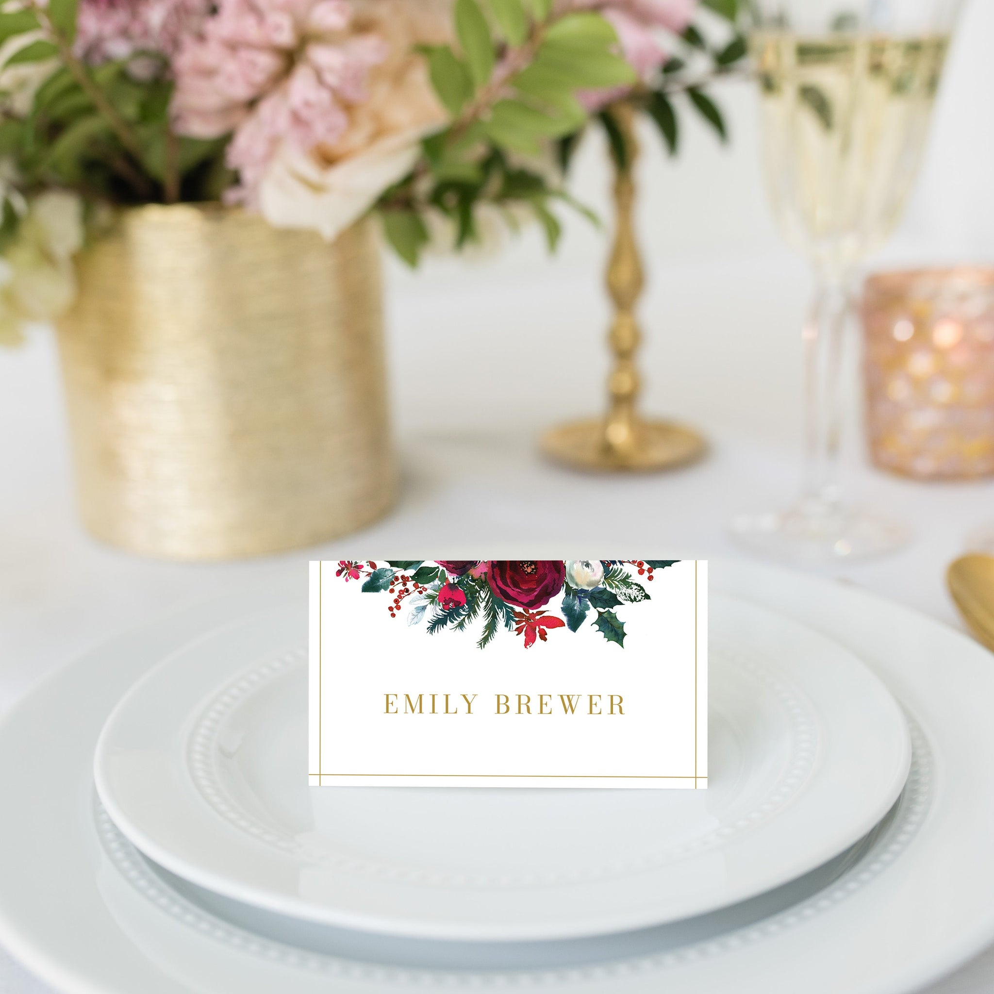 Christmas Place Card Template, Christmas Table Decor, Christmas Table Decorations, Christmas Dinner Decor, Editable DIGITAL DOWNLOAD - CG100 - @PlumPolkaDot