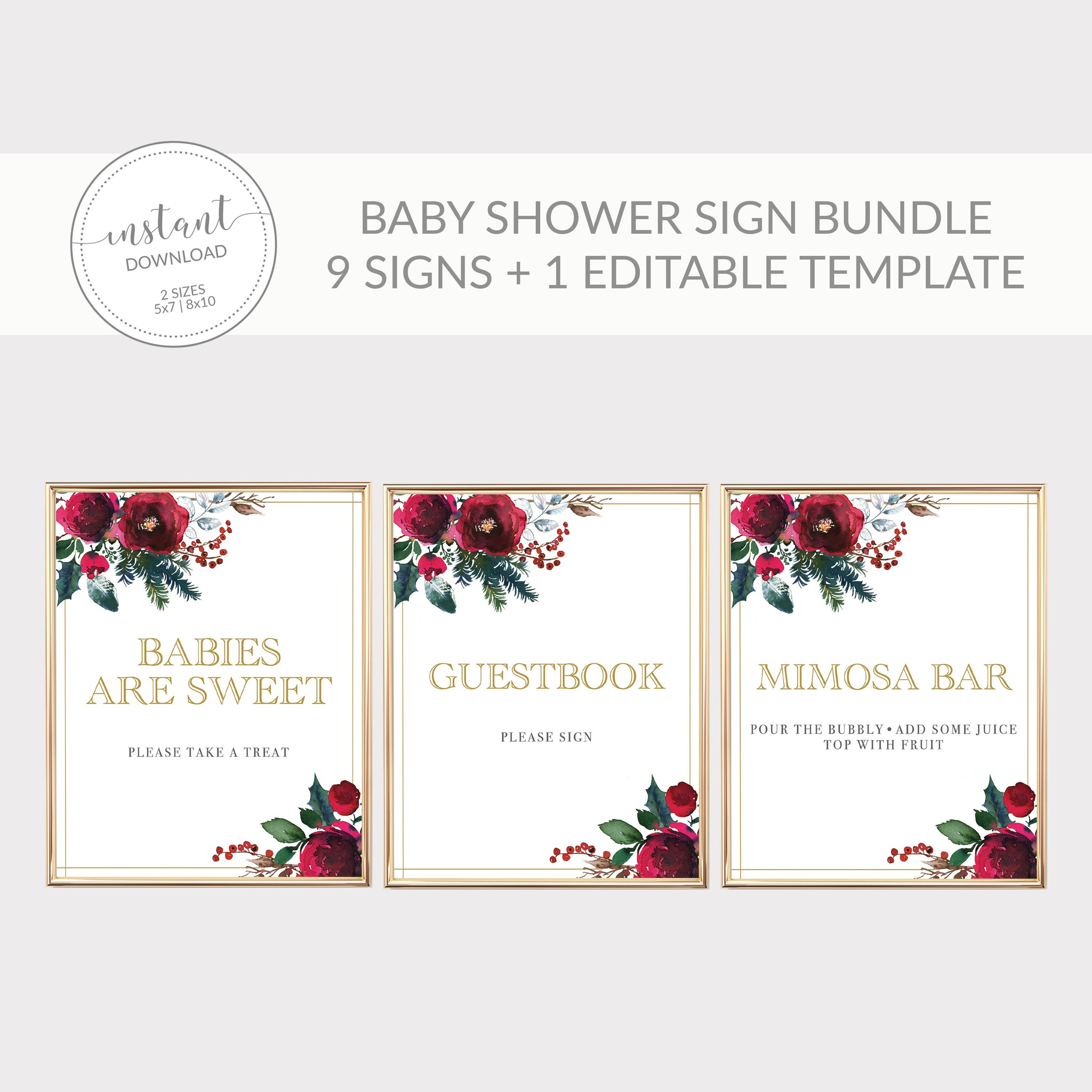 Christmas Baby Shower Sign Bundle, Christmas Baby Shower Decorations, Holiday Baby Shower Table Signs Printable, DIGITAL DOWNLOAD CG100 - @PlumPolkaDot