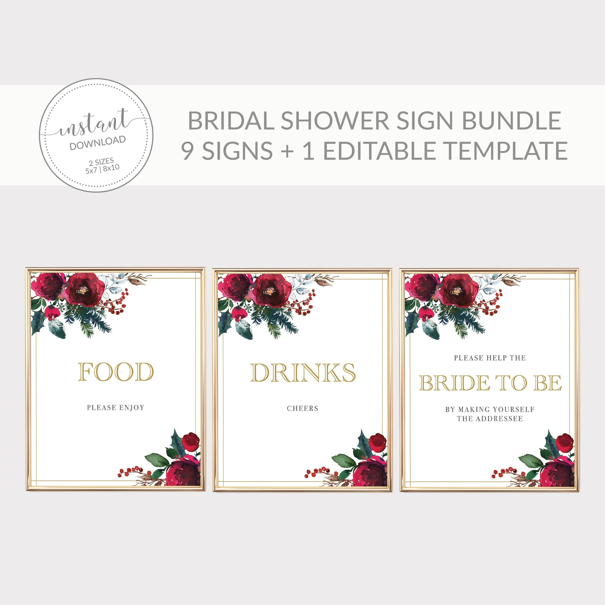 Christmas Bridal Shower Sign Bundle, Christmas Bridal Shower Decorations, Holiday Bridal Shower Table Signs, DIGITAL DOWNLOAD CG100 - @PlumPolkaDot