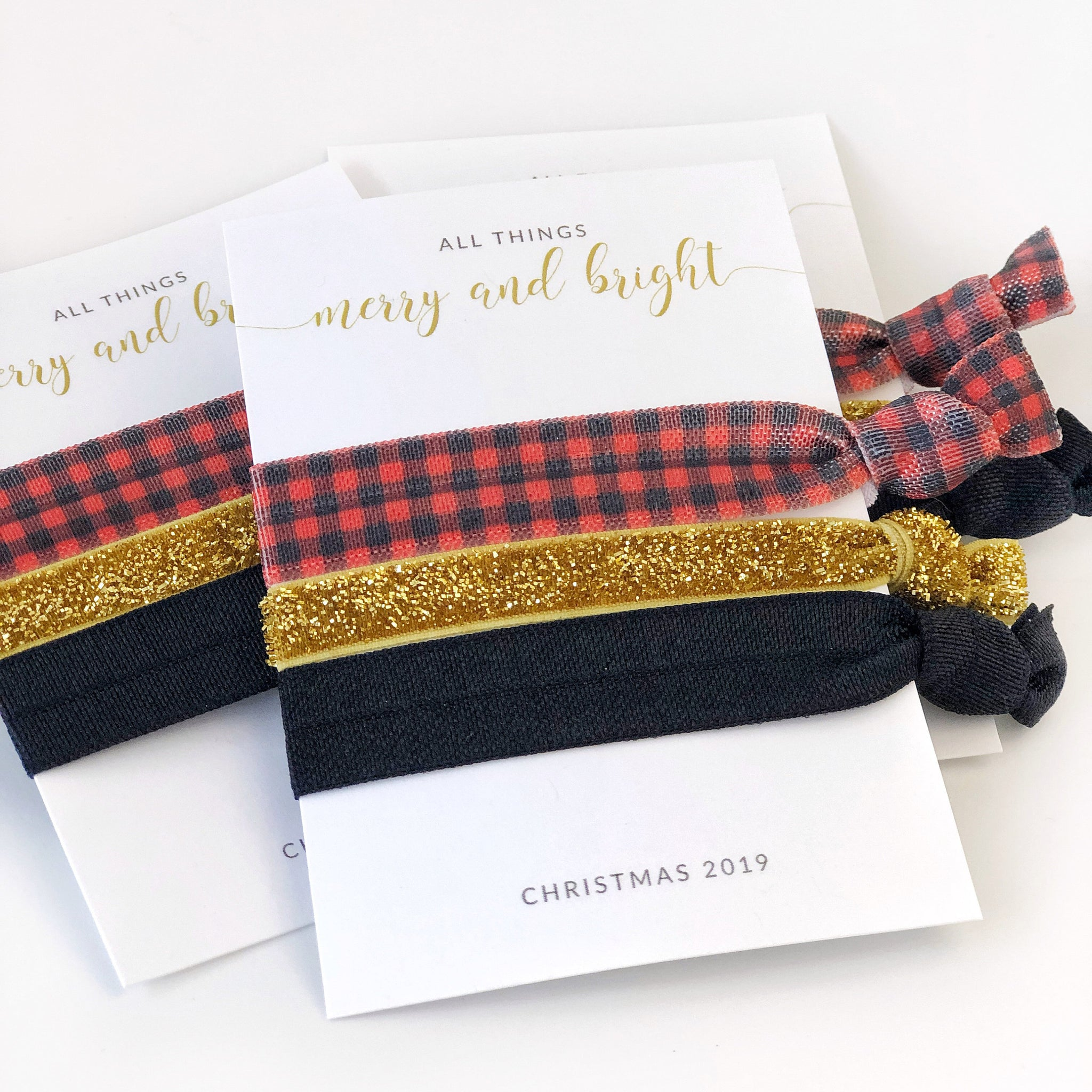 Buffalo Plaid Christmas Hair Ties, Christmas Gifts for Friends, Christmas Party Favors for Women, Stocking Stuffers Girl Friend Gift - BP100