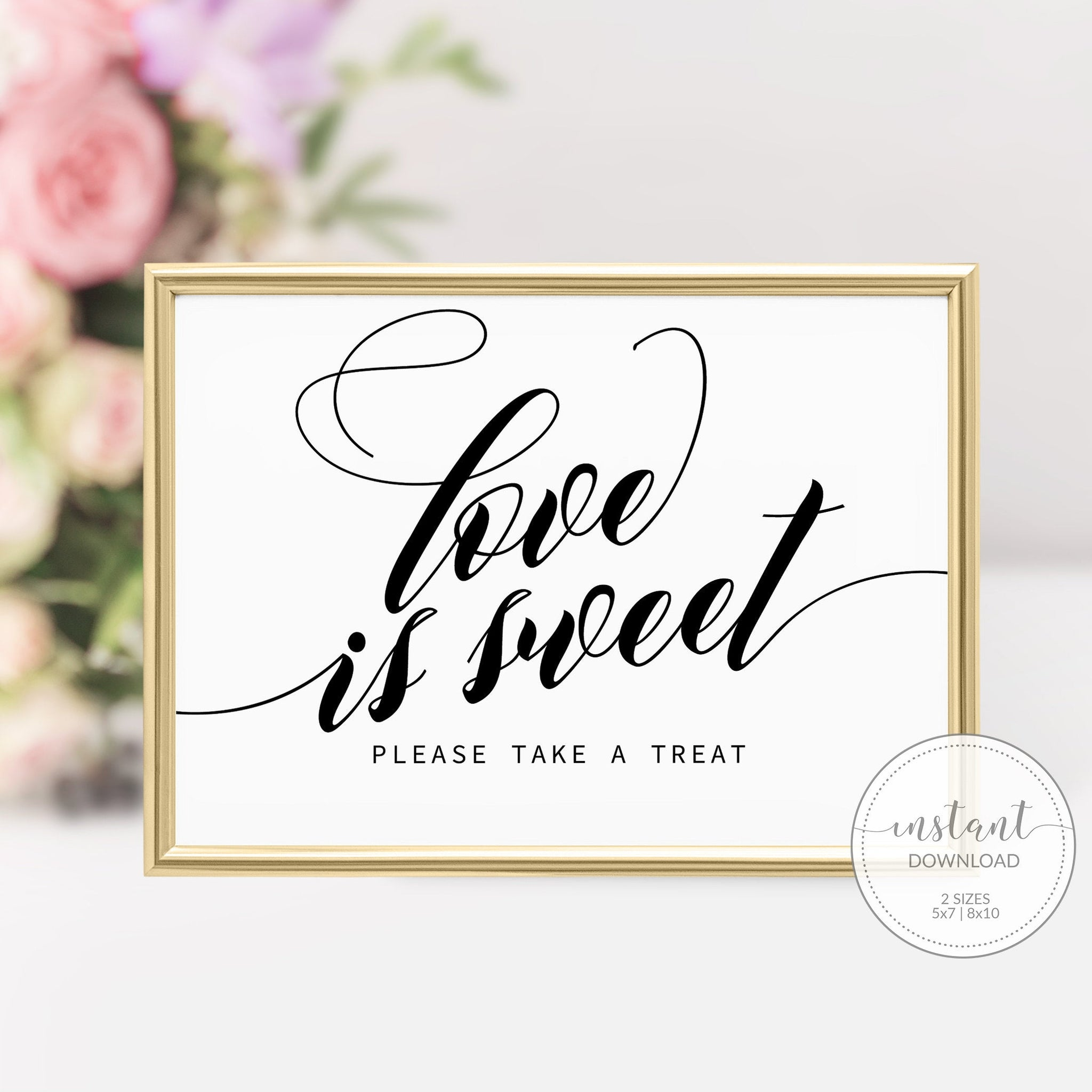 Love is Sweet Sign, Wedding Sign Love Is Sweet, Bridal Shower Love Is Sweet Printable, DIGITAL DOWNLOAD - SFB100 - @PlumPolkaDot