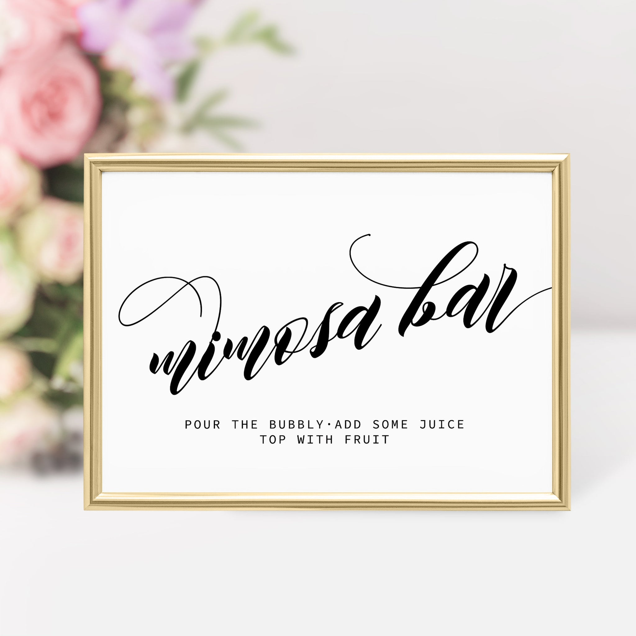 Mimosa Bar Sign, Bridal Shower Mimosa Bar Printable, Bubbly Bar Sign, Bridal Shower Decorations, DIGITAL DOWNLOAD - SFB100 - @PlumPolkaDot