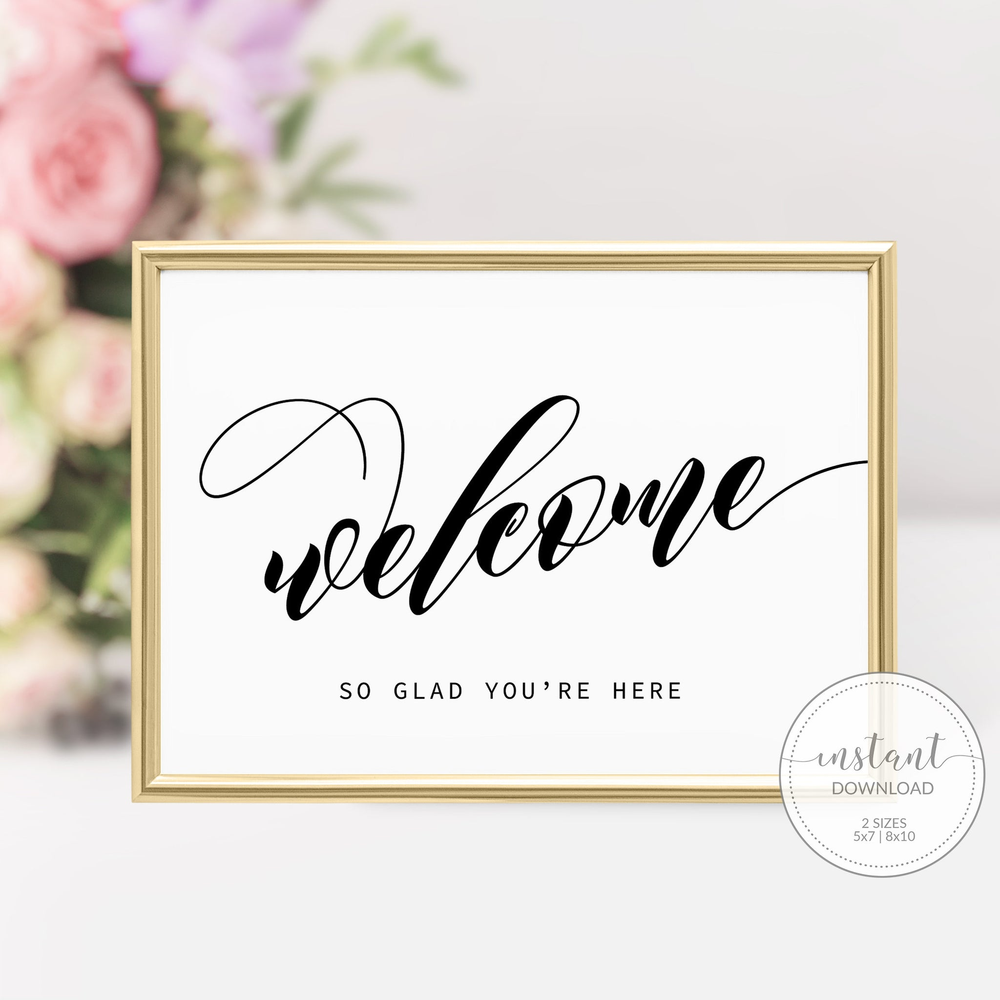 Printable Welcome Sign Black and White, Black Bridal Shower Welcome Sign, Black Baby Shower Welcome Sign, DIGITAL DOWNLOAD - SFB100 - @PlumPolkaDot