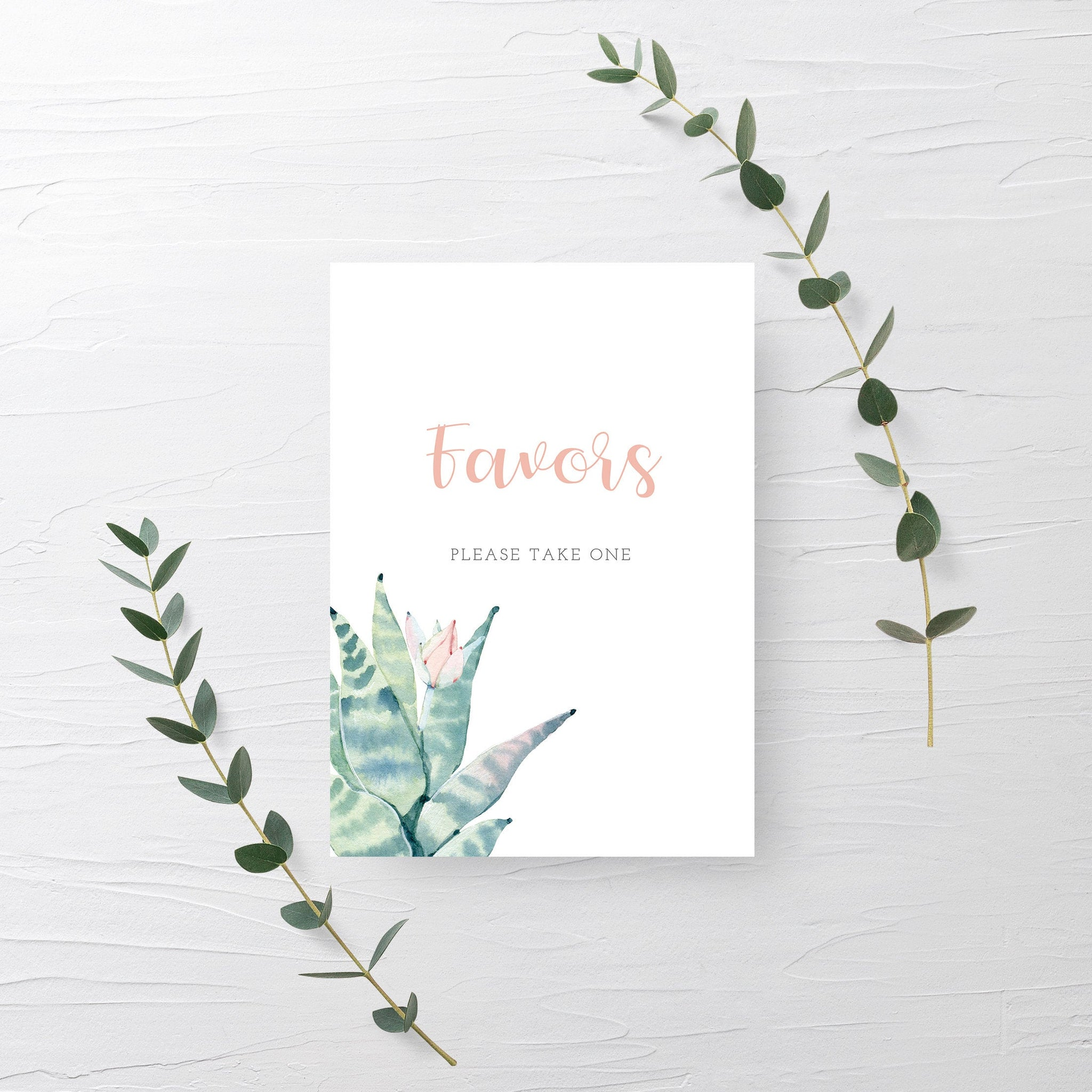 Succulent Favors Sign Printable, Succulent Bridal Shower Sign, Succulent Baby Shower Table Signs, DIGITAL DOWNLOAD - CS100 - @PlumPolkaDot
