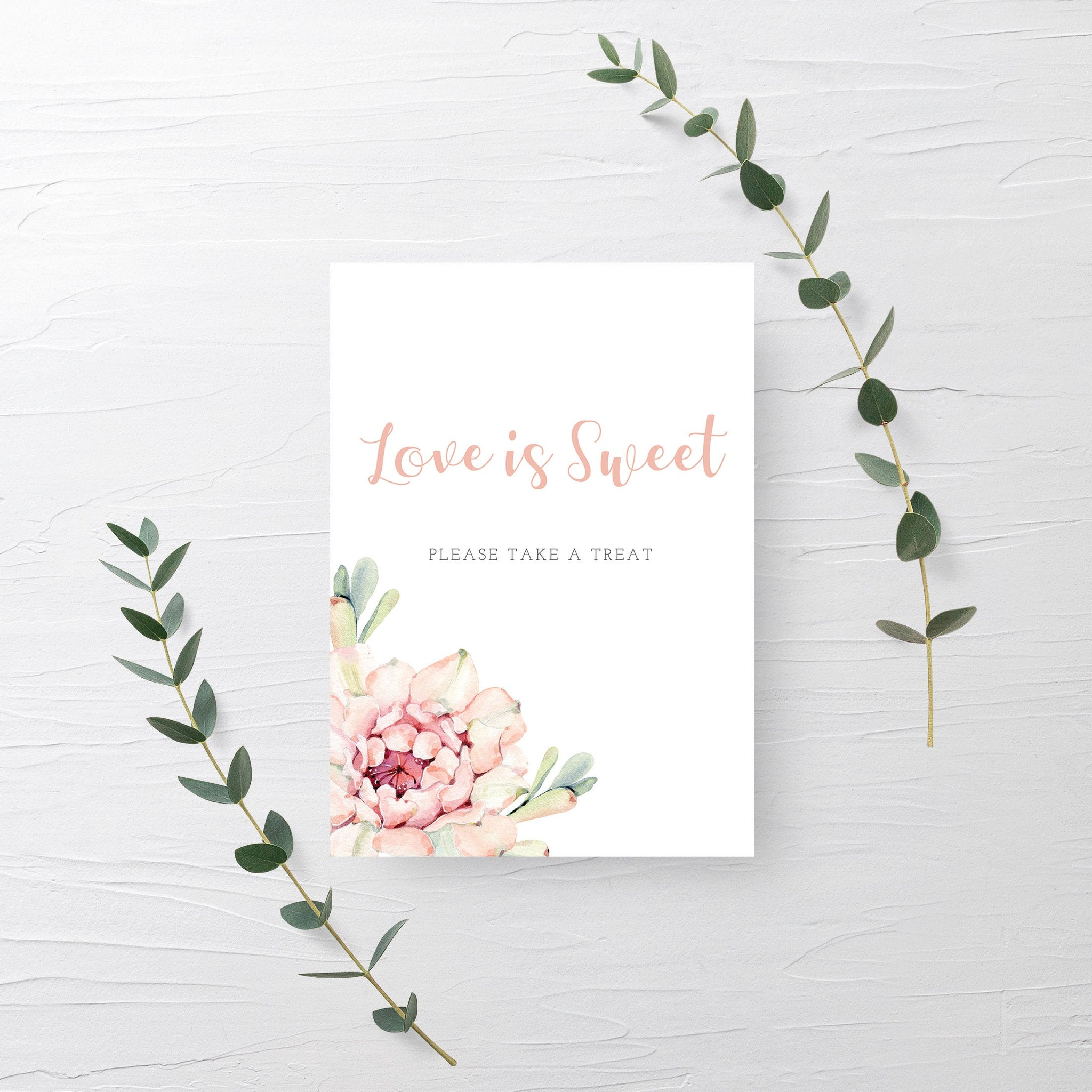 Succulent Bridal Shower Dessert Table Sign Printable, Love Is Sweet Treat Sign Printable, Cactus Bridal Shower, DIGITAL DOWNLOAD - CS100 - @PlumPolkaDot