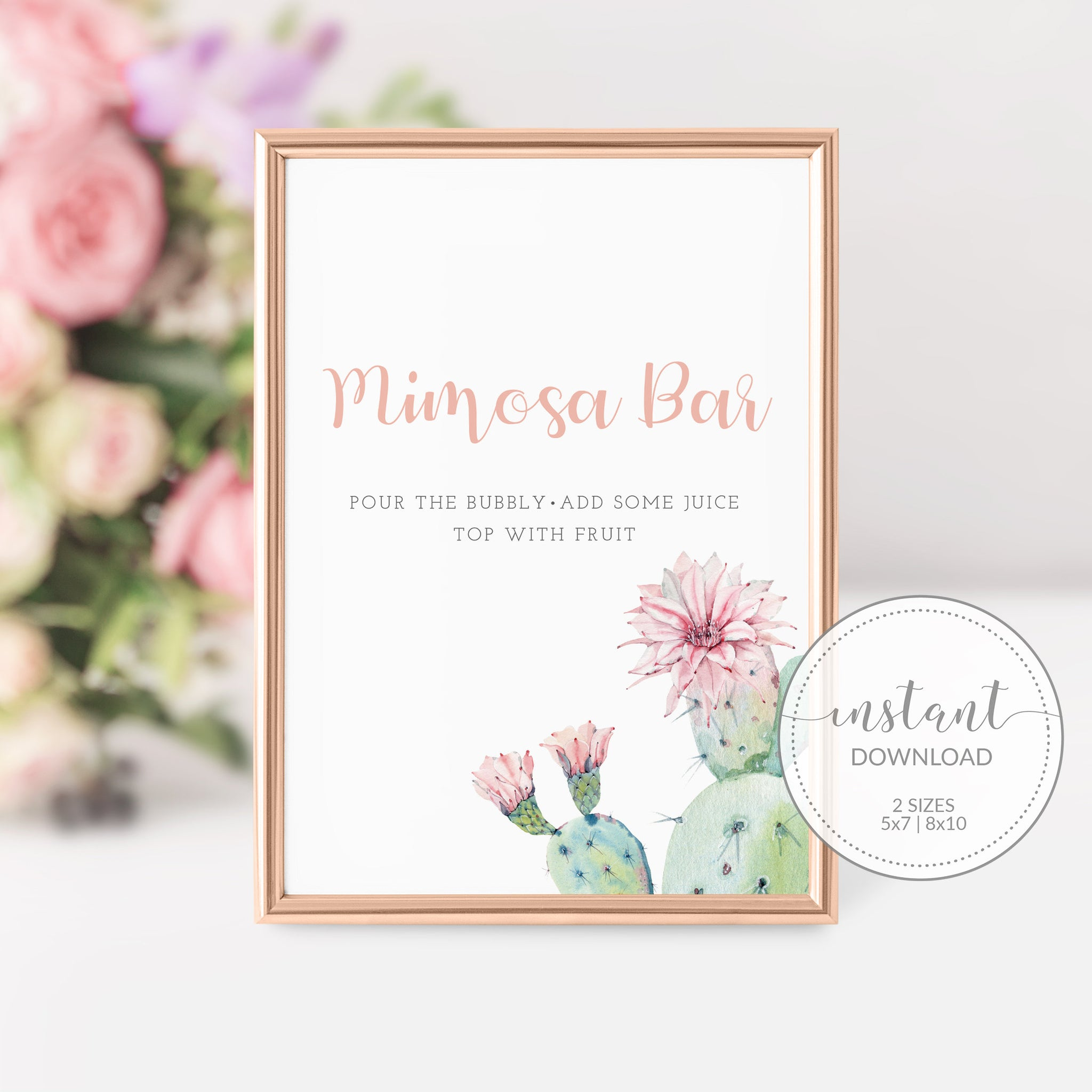 Succulent Bridal Shower Mimosa Bar Sign Printable, Cactus Bridal Shower Bubbly Bar Sign, Succulent Decorations, DIGITAL DOWNLOAD - CS100 - @PlumPolkaDot