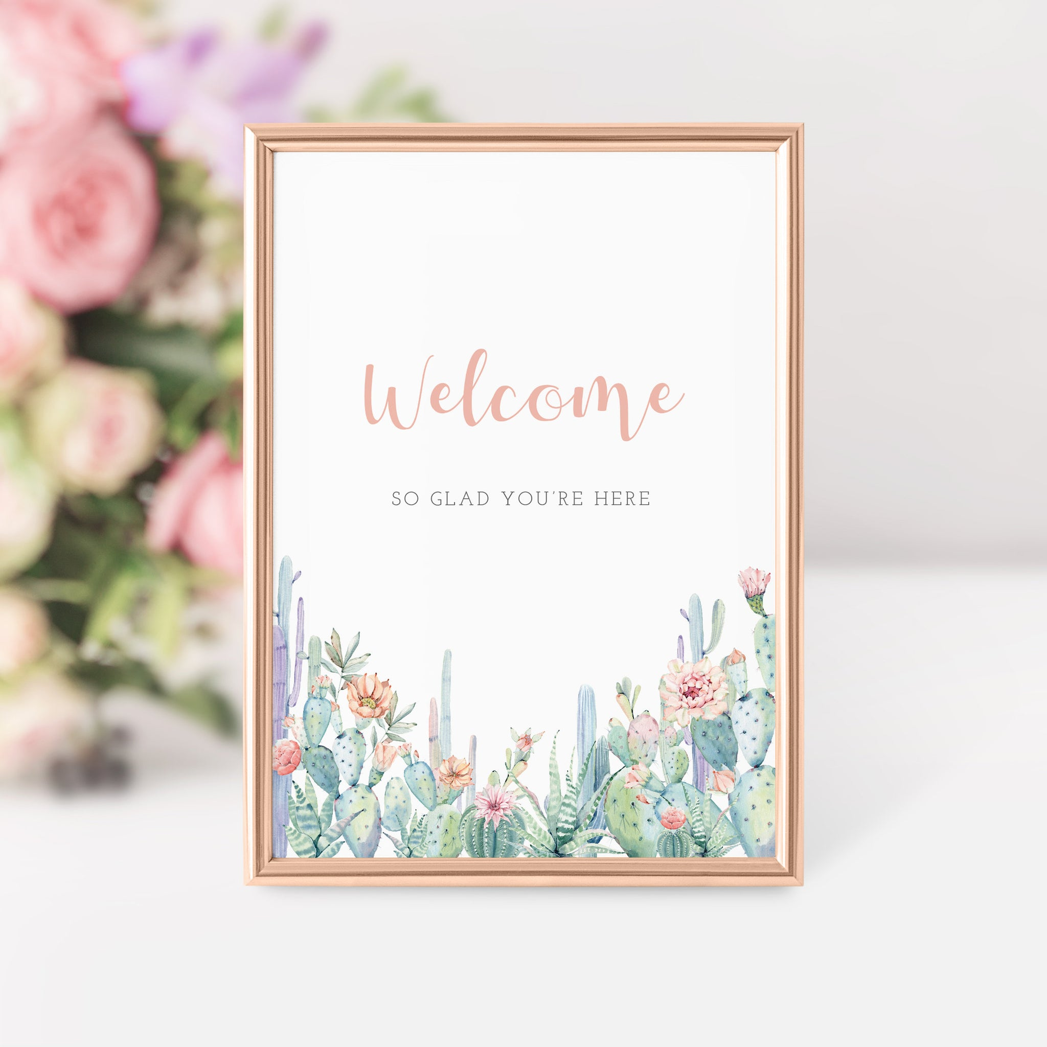 Succulent Welcome Sign Printable, Cactus Bridal Shower Welcome Sign, Cactus Baby Shower Welcome Sign, DIGITAL DOWNLOAD - CS100 - @PlumPolkaDot