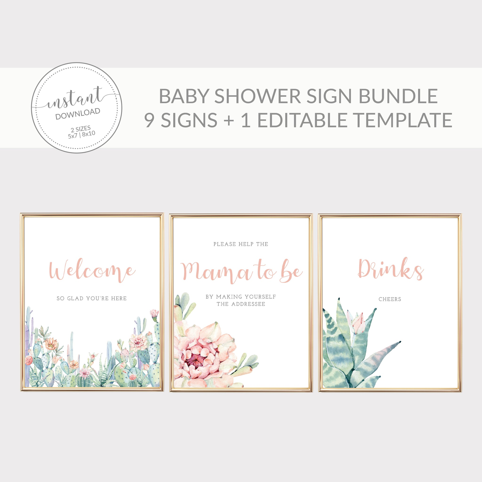 Succulent Baby Shower Sign Bundle, Cactus Baby Shower Table Signs, Printable Sip and See Decorations, DIGITAL DOWNLOAD - CS100 - @PlumPolkaDot